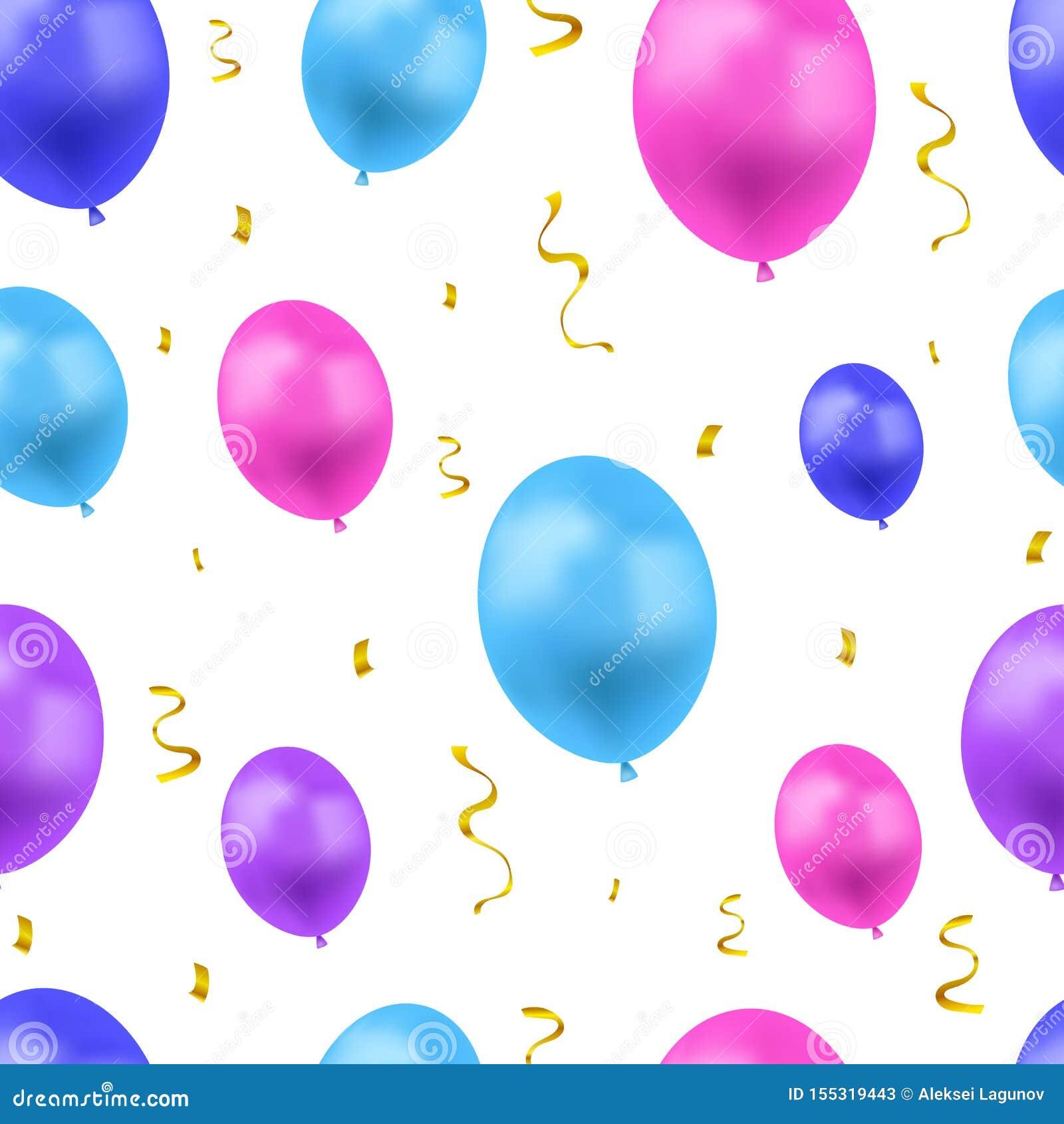 Wektorowy Świąteczny tło z Kolorowymi balonami, Złotymi confetti i kolory, Bezszwowi wzoru, błękita, menchii i purpur,