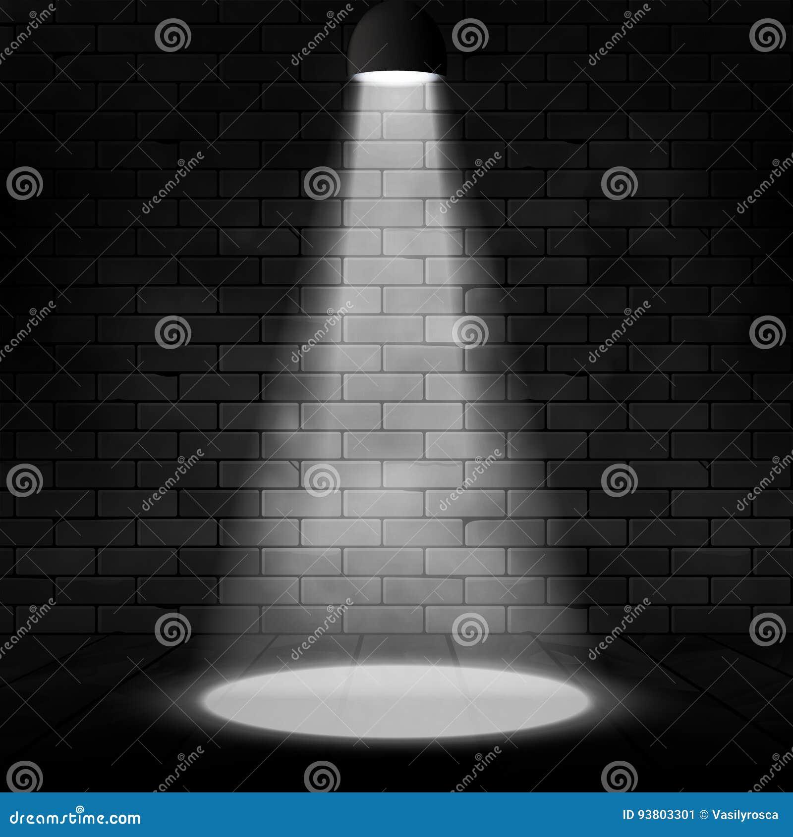 Wektorowy światło reflektorów iluminujący ściana z cegieł i scena Jarzeniowy skutka tło Sceny dekoracja z floodlight lampą