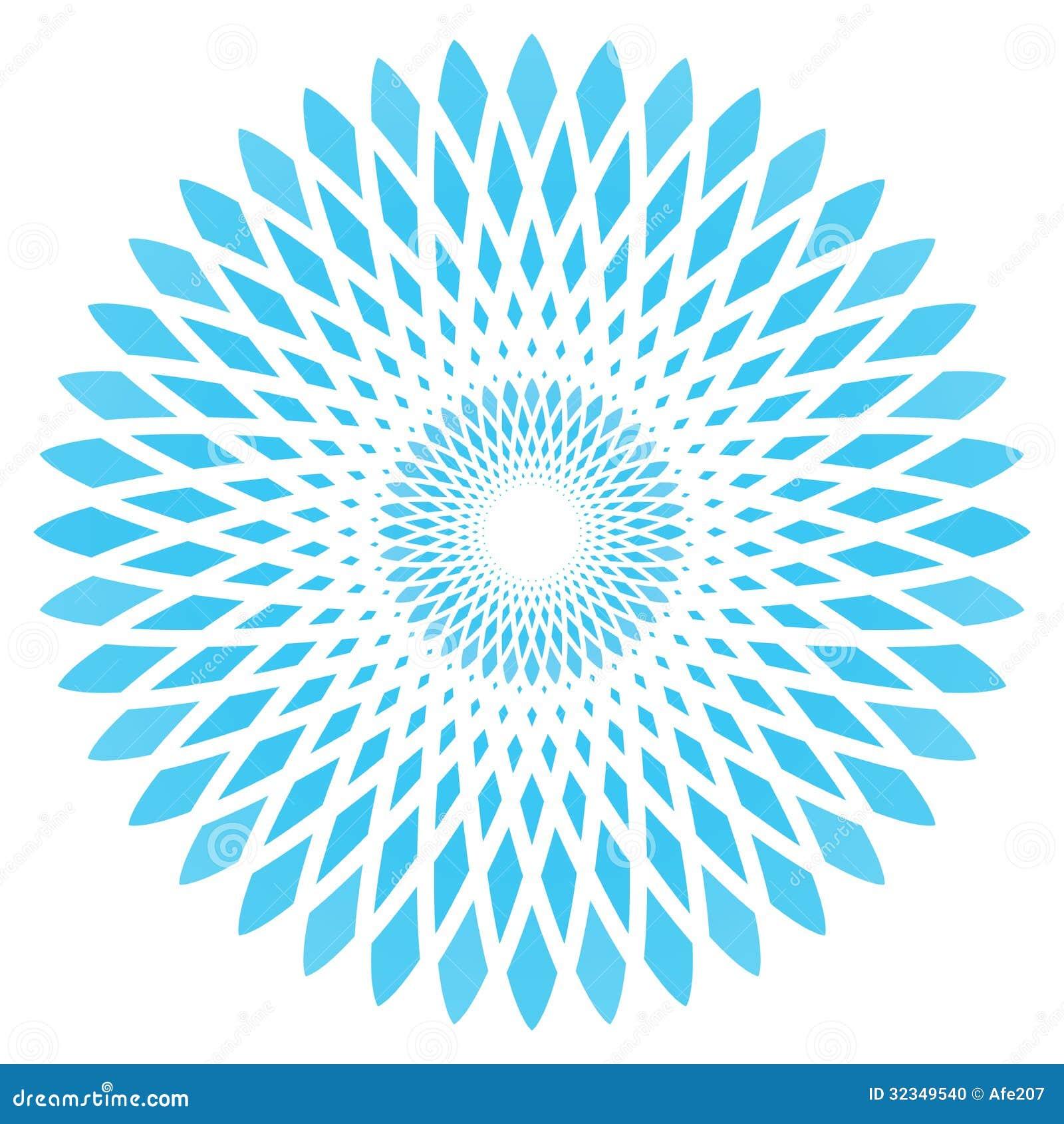 Wektorowy abstrakcjonistyczny błękitny okręgu kwiat