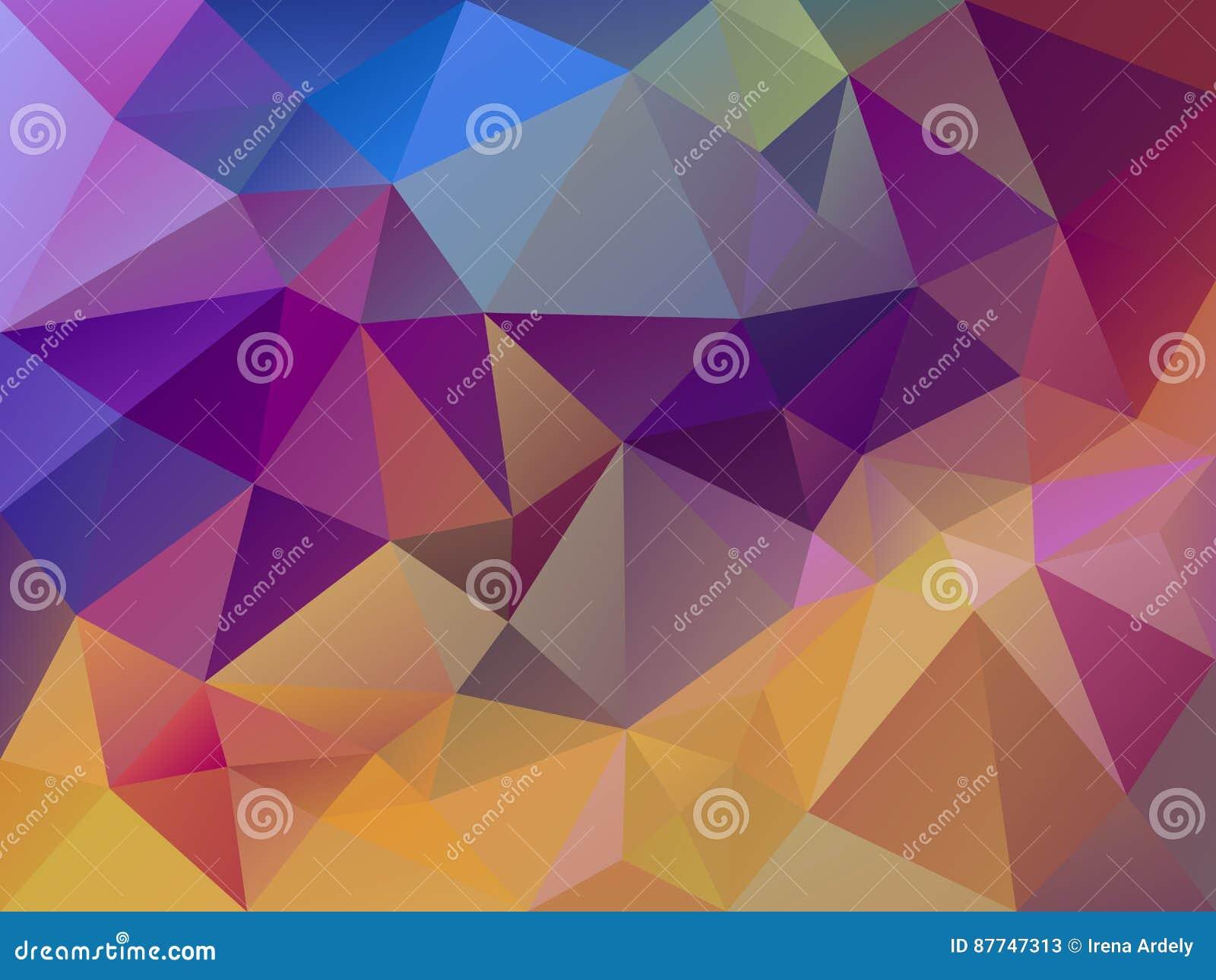 Wektorowy abstrakcjonistyczny nieregularny wieloboka tła trójboka wzór w wielo- kolorze kolor żółty, menchia, purpura i błękit -,