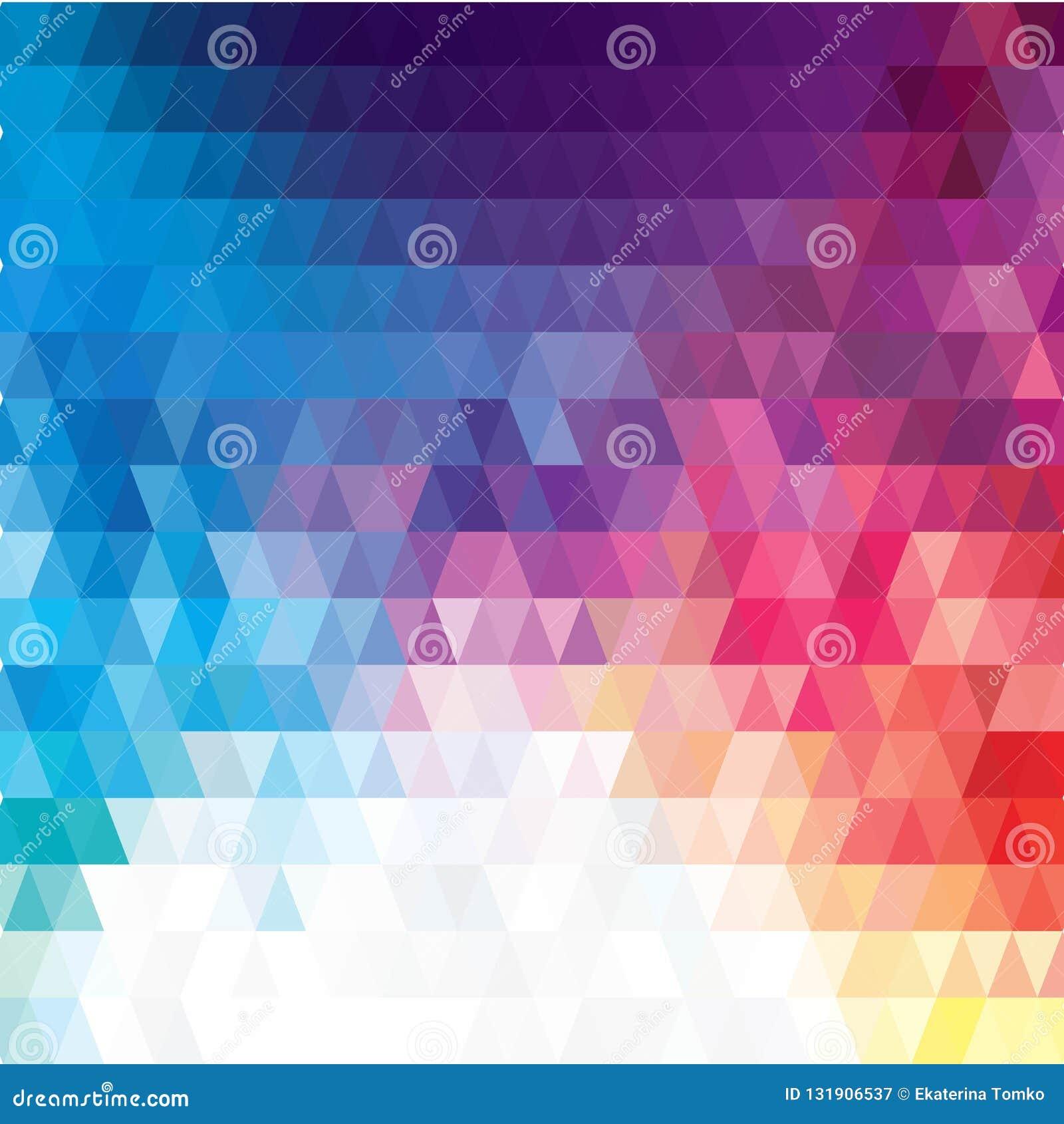 Wektorowy abstrakcjonistyczny nieregularny wieloboka tło z trójgraniastym wzorem w pełnego koloru tęczy widmie barwi 10 eps