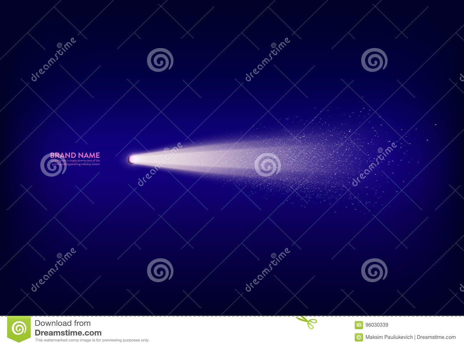 Wektorowy abstrakcjonistyczny purpurowy sztandar z światłem reflektorów, latarka, lekki promień, promień światło z białymi iskram