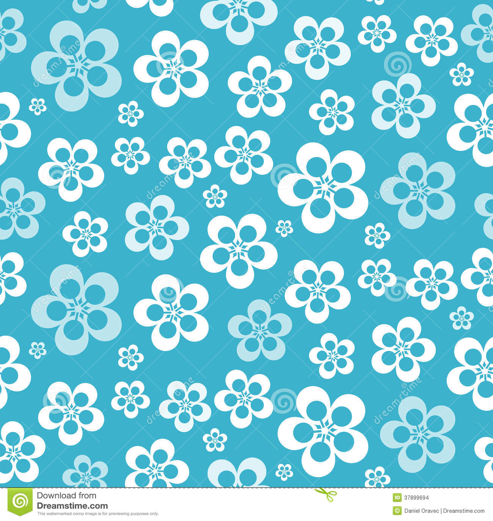 Wektorowy Abstrakcjonistyczny Retro Bezszwowy Błękitny kwiatu wzór