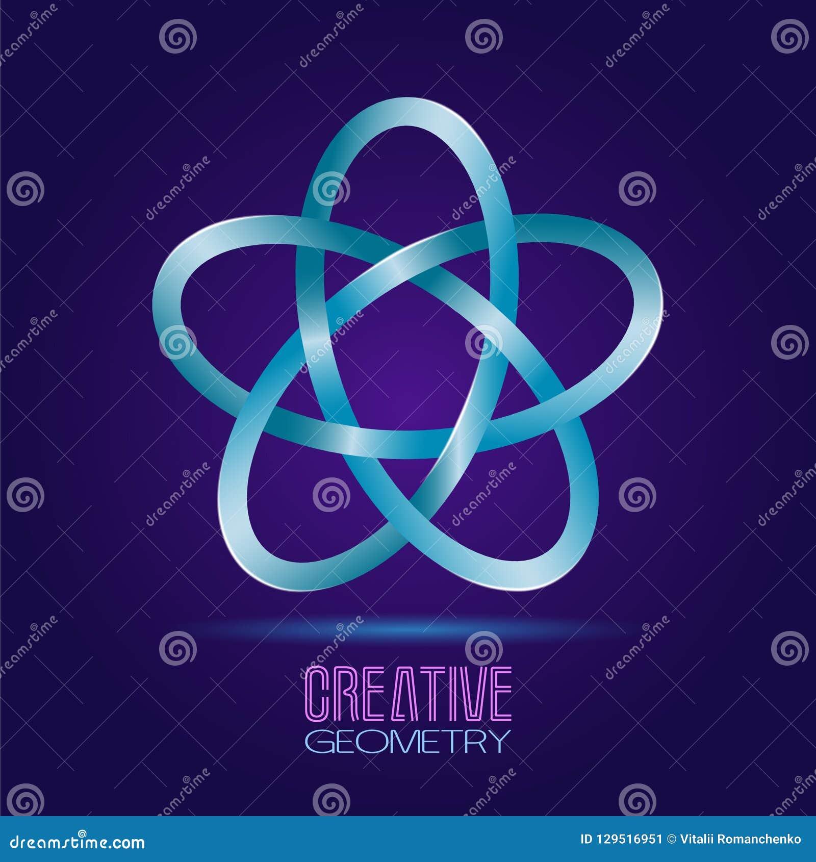Wektorowy abstrakcjonistyczny symbol w postaci atomowej gwiazdy Symbol cykl, energia i równowaga nieskończoności, Ja może używać