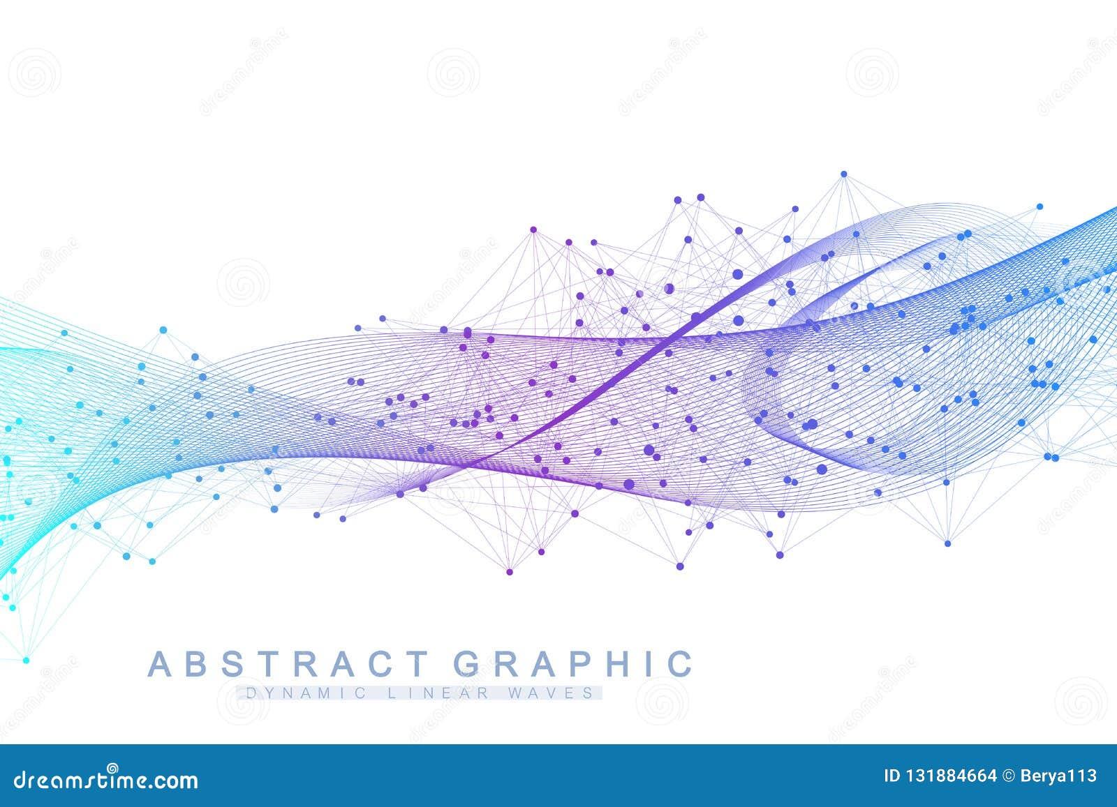 Wektorowy abstrakcjonistyczny tło z barwione dynamiczne fala, linia i cząsteczki, Falowy przepływ Cyfrowej częstotliwości ślad
