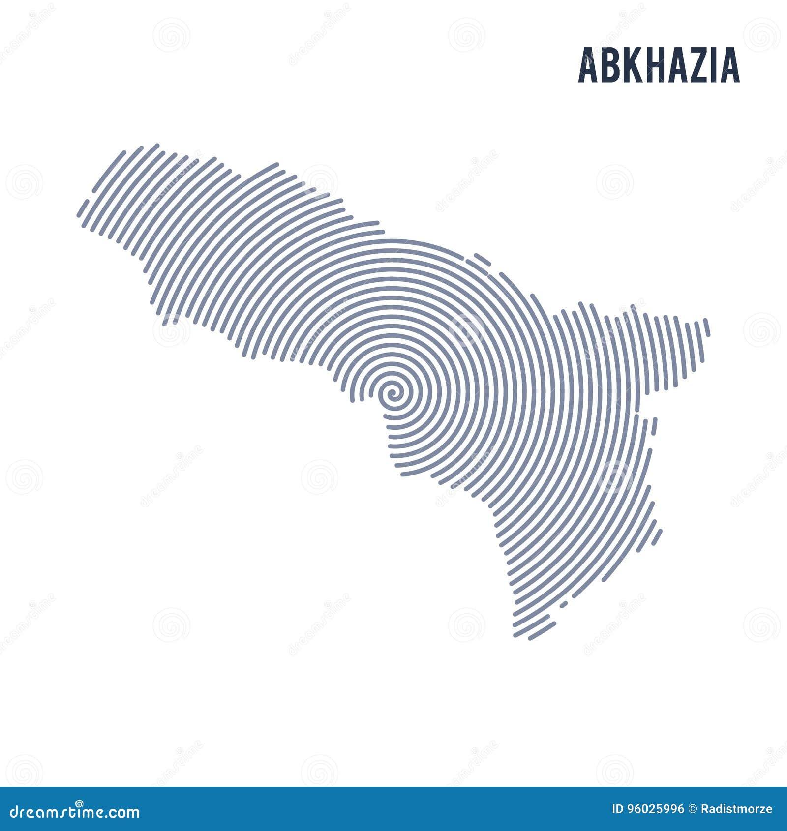 Wektorowy abstrakt klująca się mapa Abkhazia z spiral liniami odizolowywać na białym tle