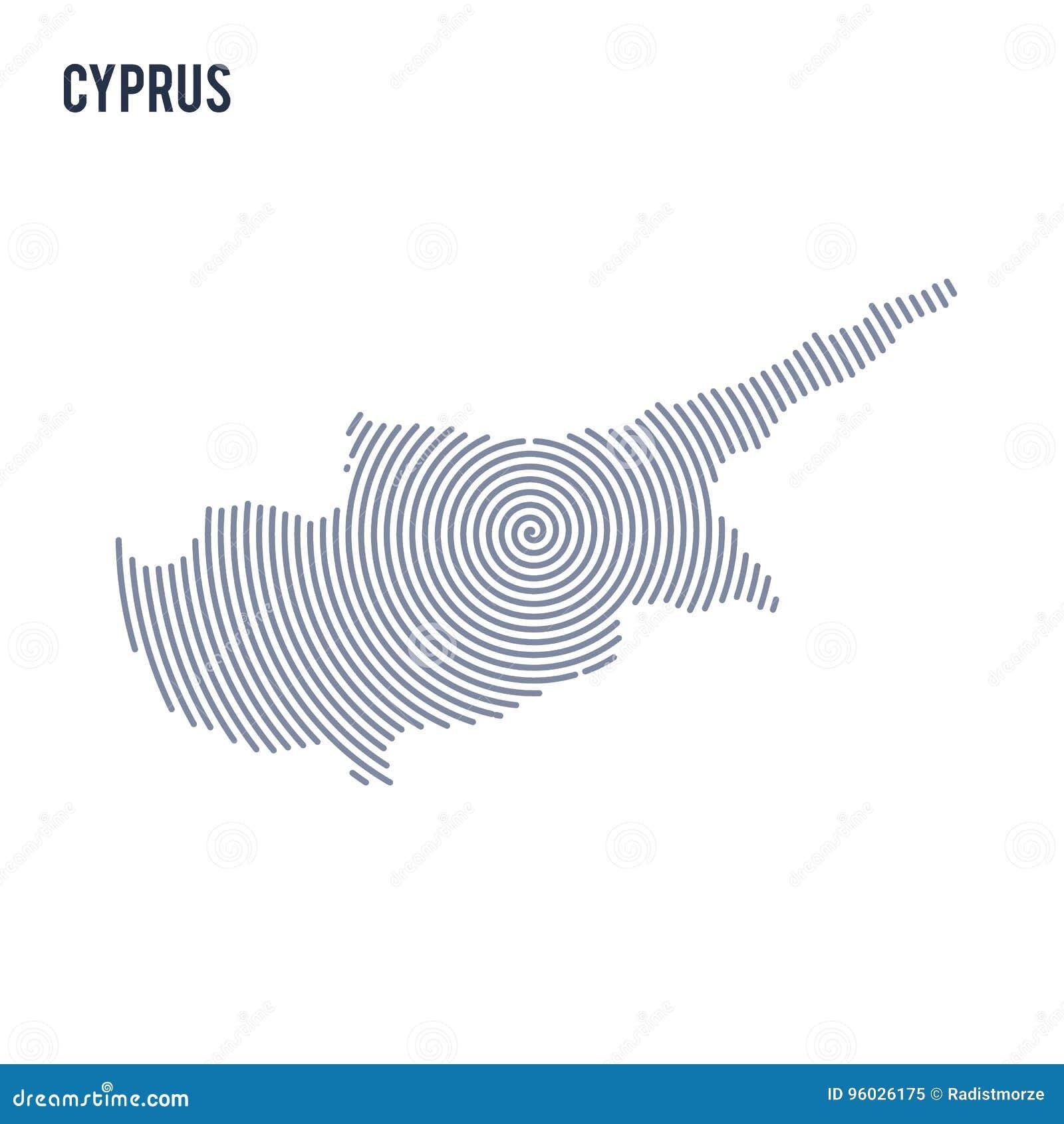 Wektorowy abstrakt klująca się mapa Cypr z spiral liniami odizolowywać na białym tle