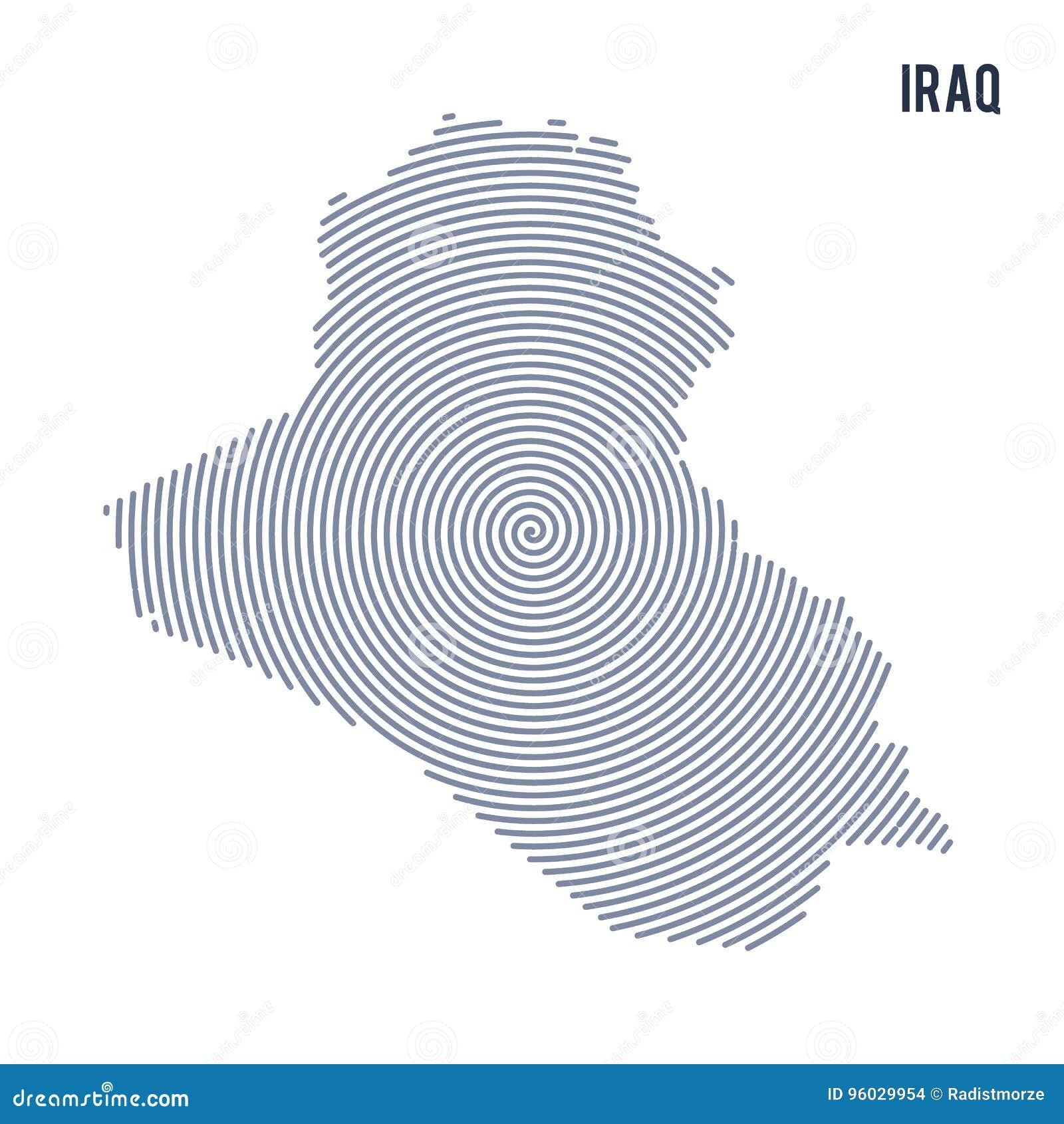 Wektorowy abstrakt klująca się mapa Irak z spiral liniami odizolowywać na białym tle