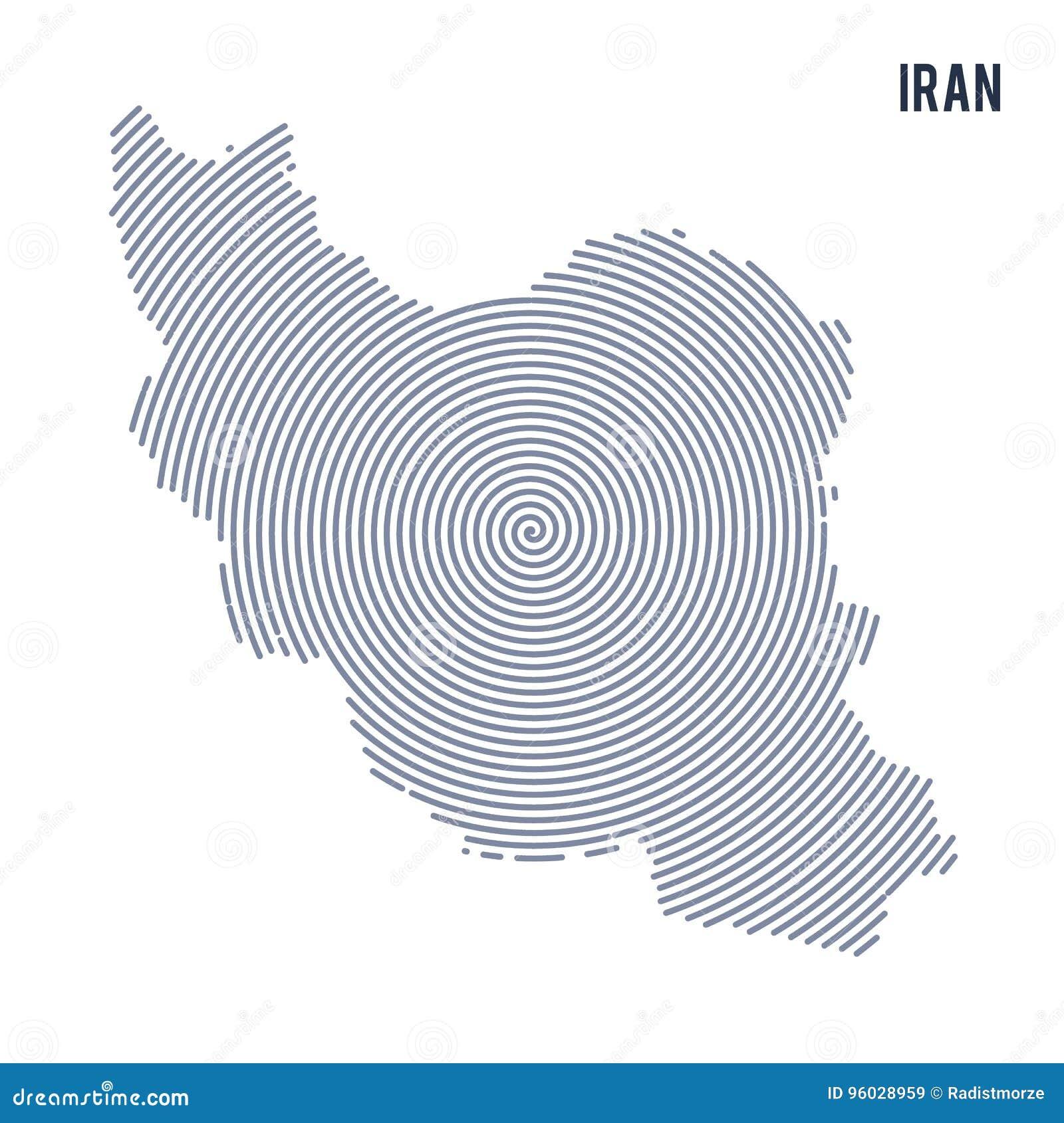 Wektorowy abstrakt klująca się mapa Iran z spiral liniami odizolowywać na białym tle