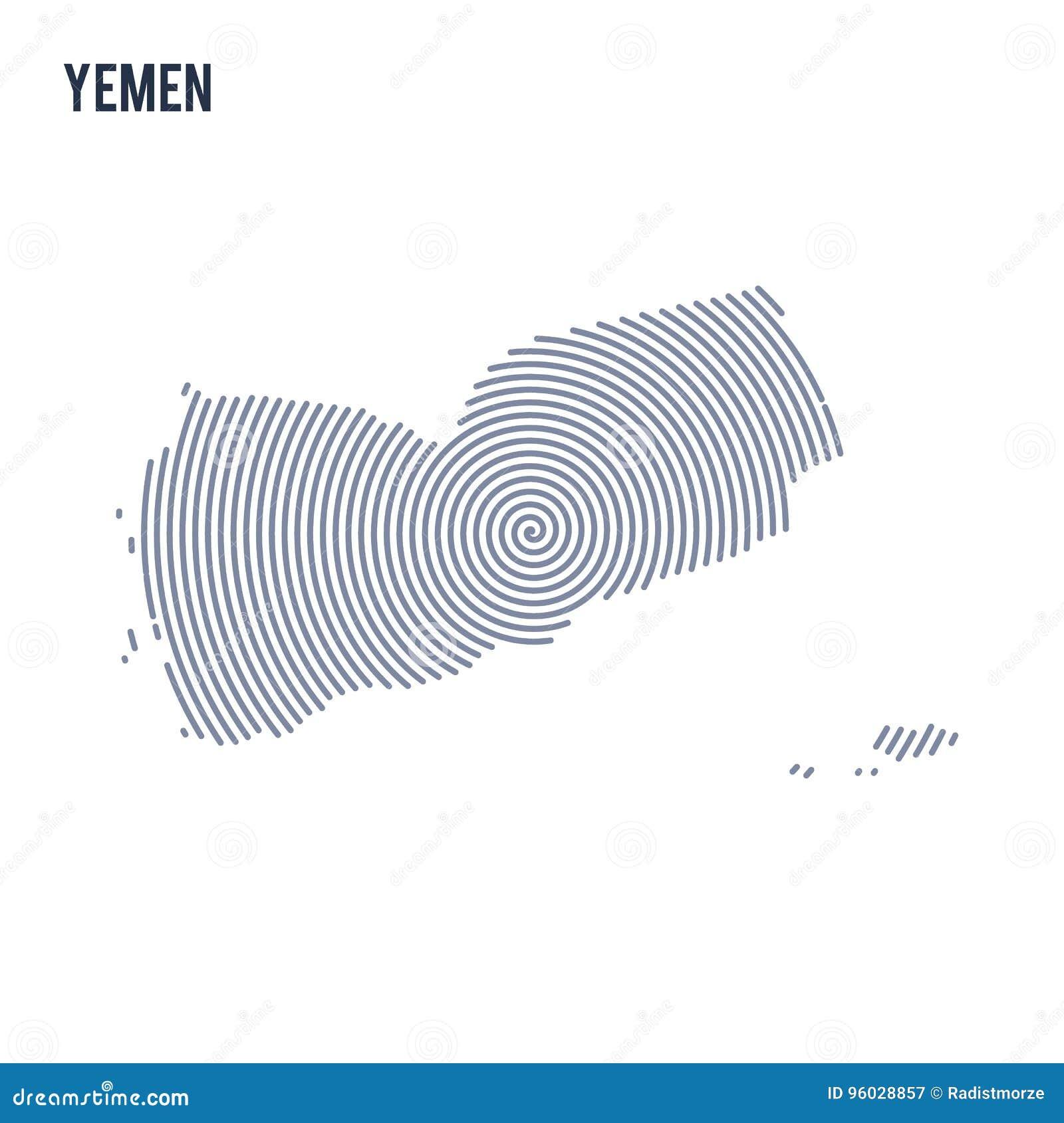 Wektorowy abstrakt klująca się mapa Jemen z spiral liniami odizolowywać na białym tle
