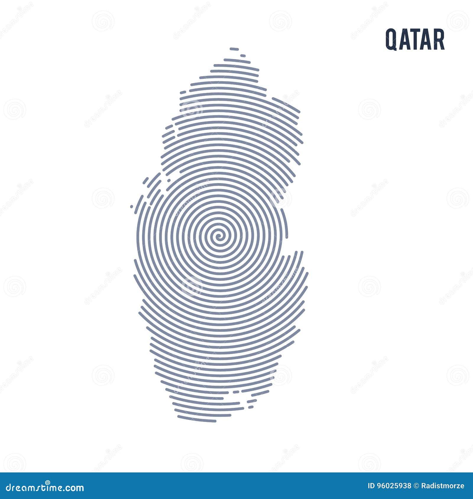 Wektorowy abstrakt klująca się mapa Katar z spiral liniami odizolowywać na białym tle