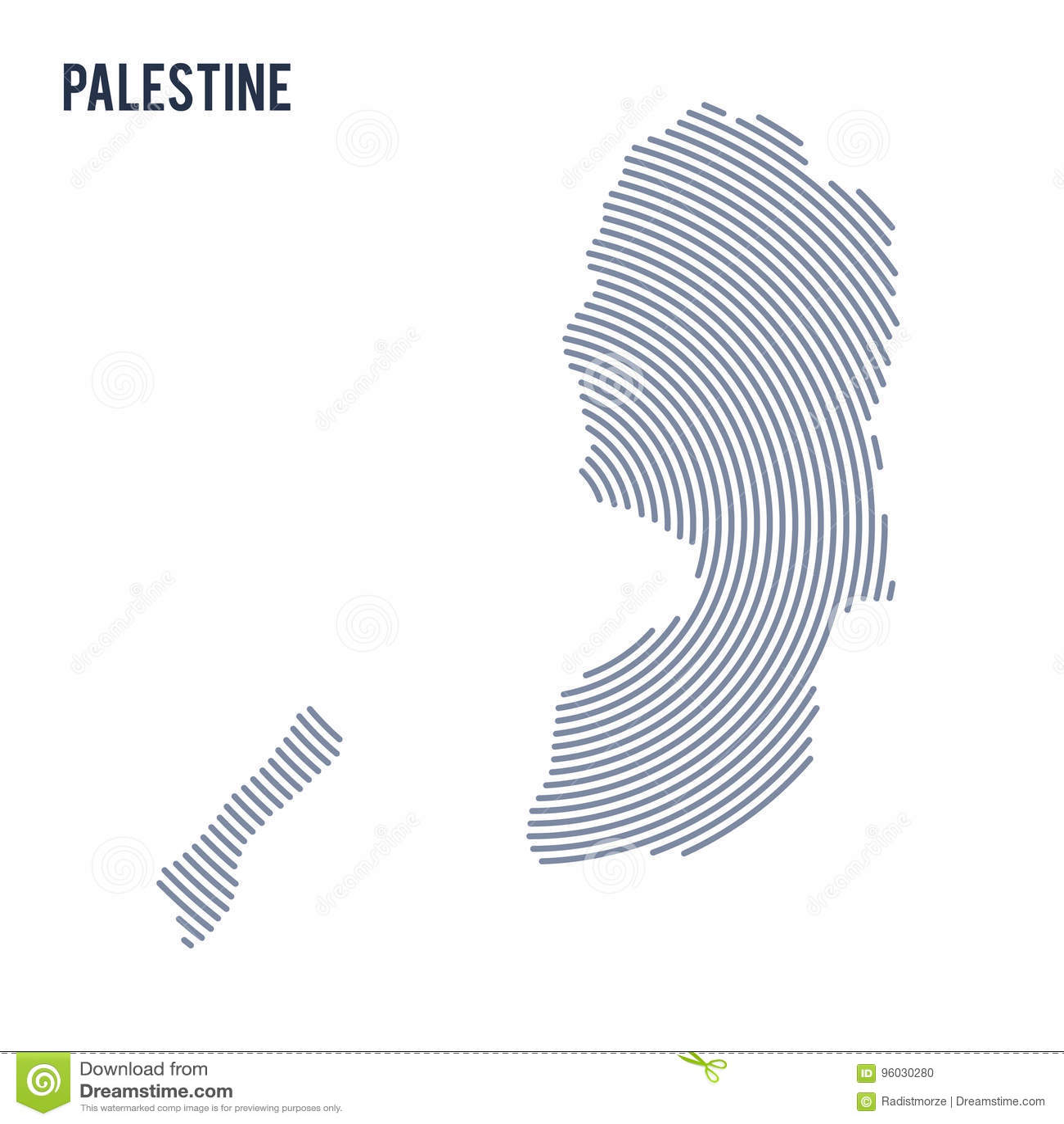 Wektorowy abstrakt klująca się mapa Palestyna z spiral liniami odizolowywać na białym tle