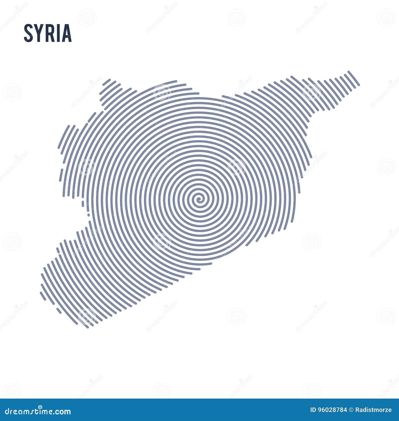 Wektorowy abstrakt klująca się mapa Syria z spiral liniami odizolowywać na białym tle