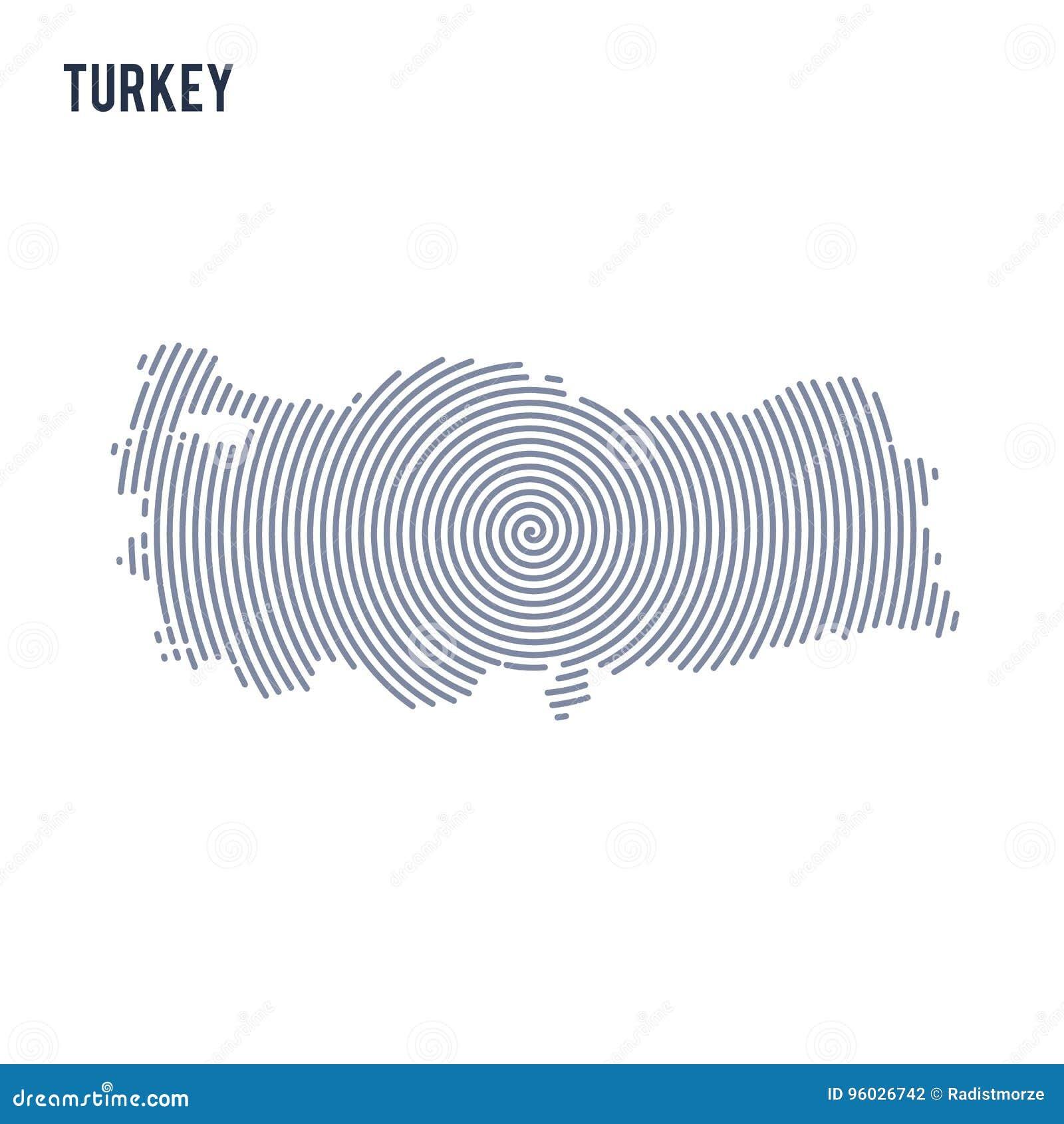 Wektorowy abstrakt klująca się mapa Turcja z spiral liniami odizolowywać na białym tle