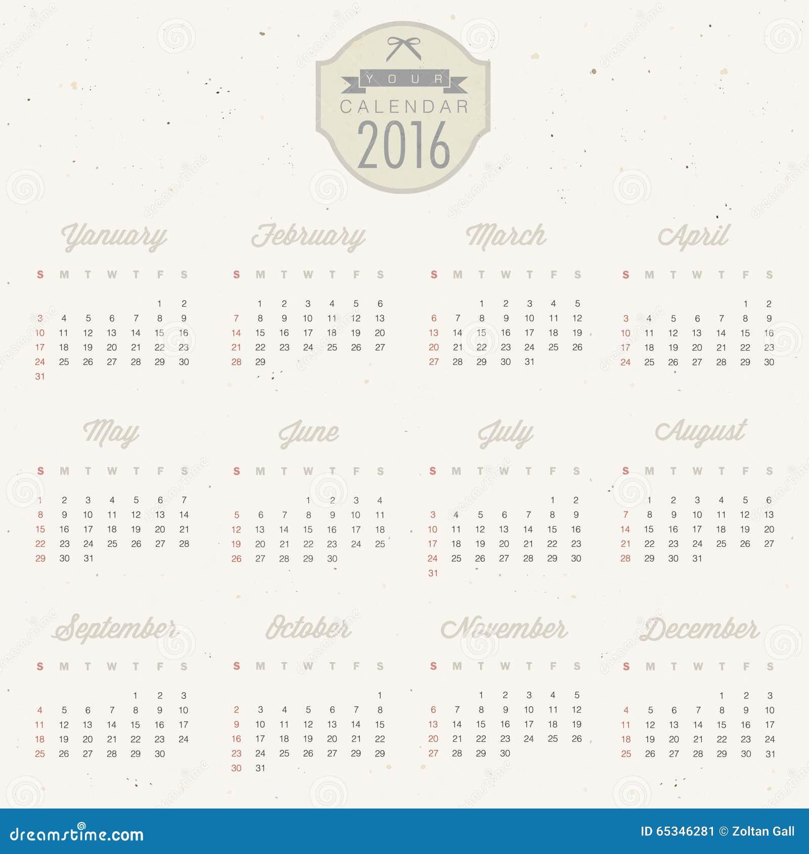 Wektorowy abstrakta kalendarz 2016