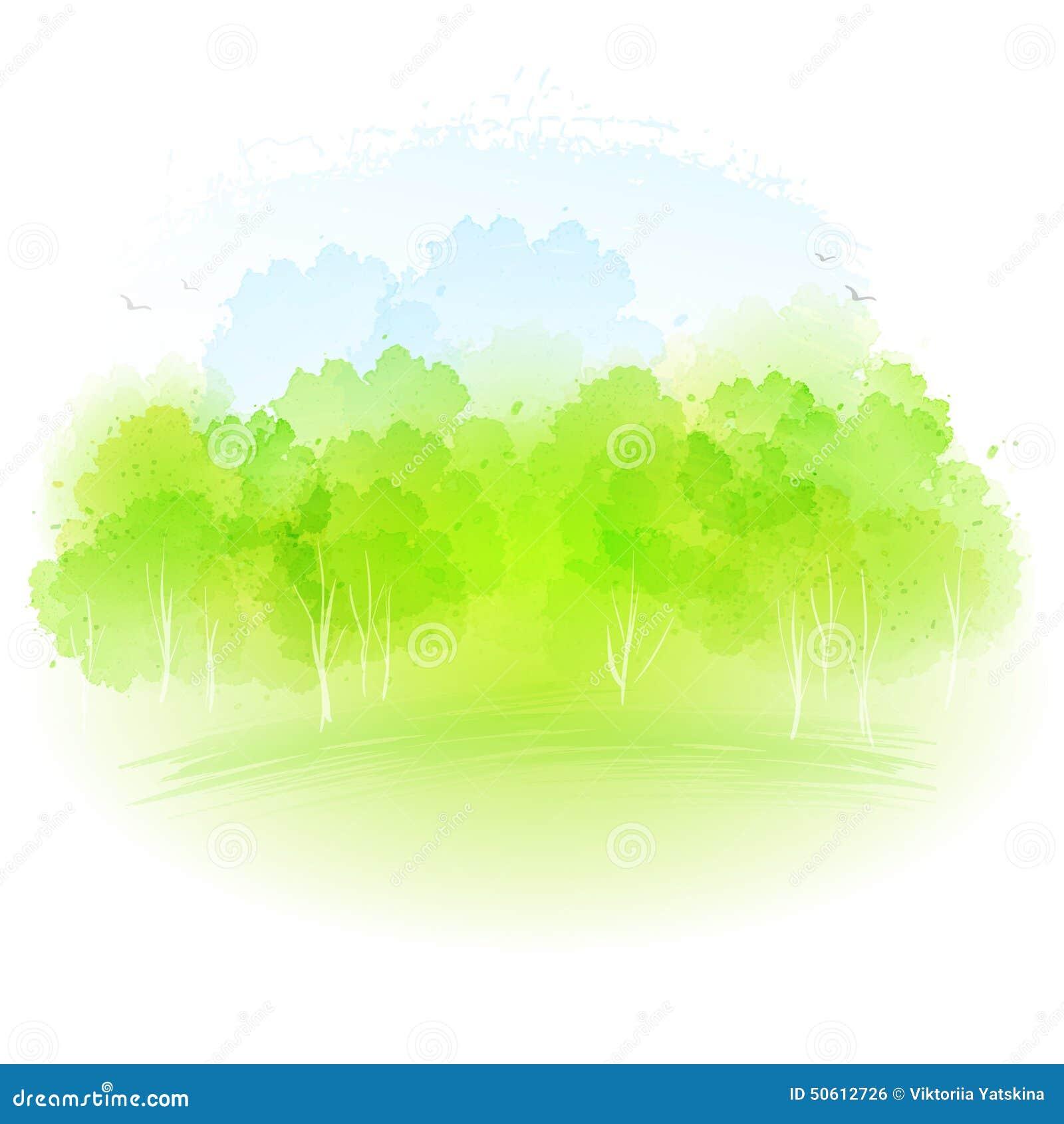 Wektorowy akwareli wiosny krajobraz
