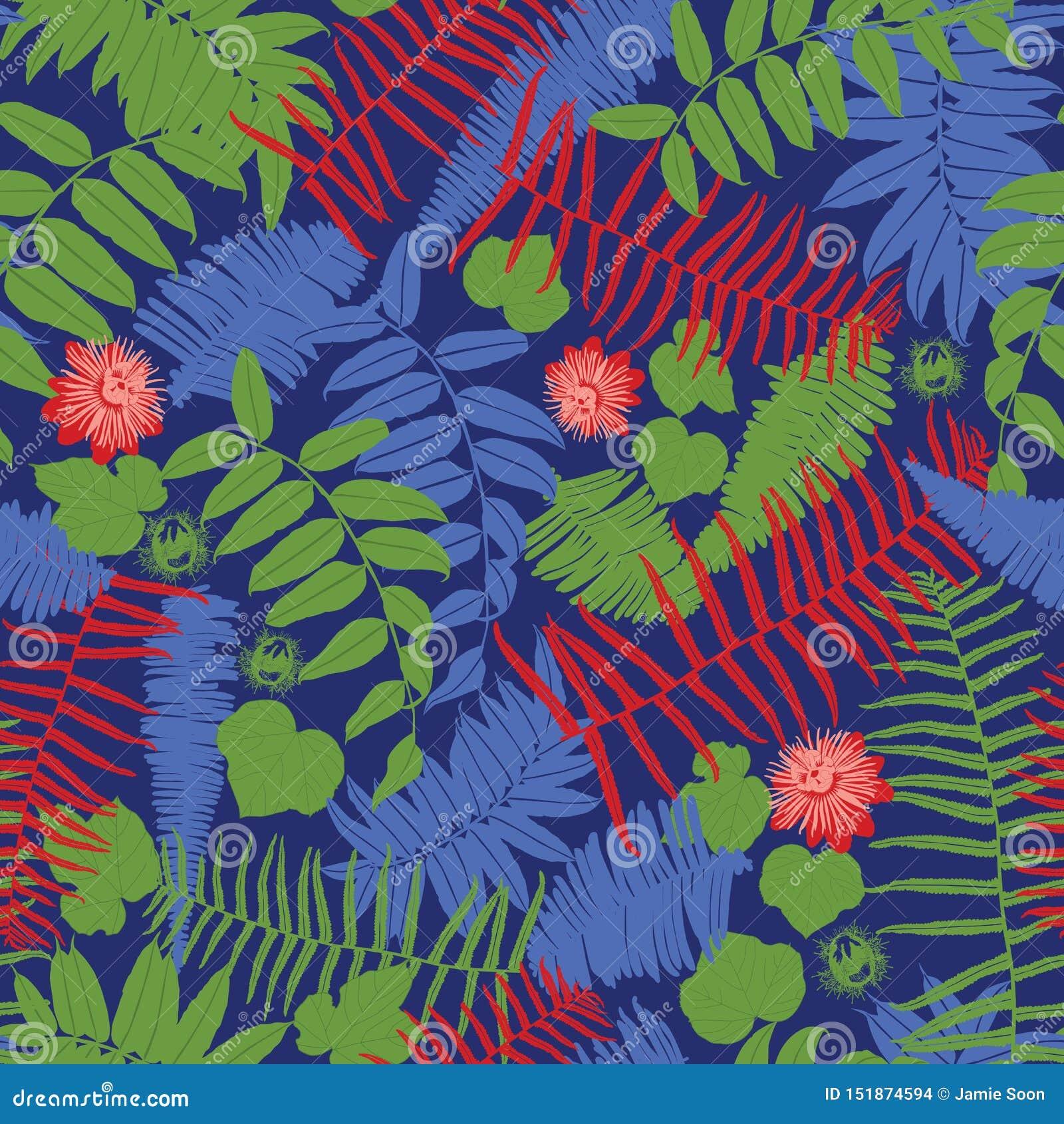 Wektorowy błękit, czerwień i zielony bezszwowy wzór z, paprociami, liśćmi i dzikim kwiatem, Stosowny dla tkaniny, prezenta opakun
