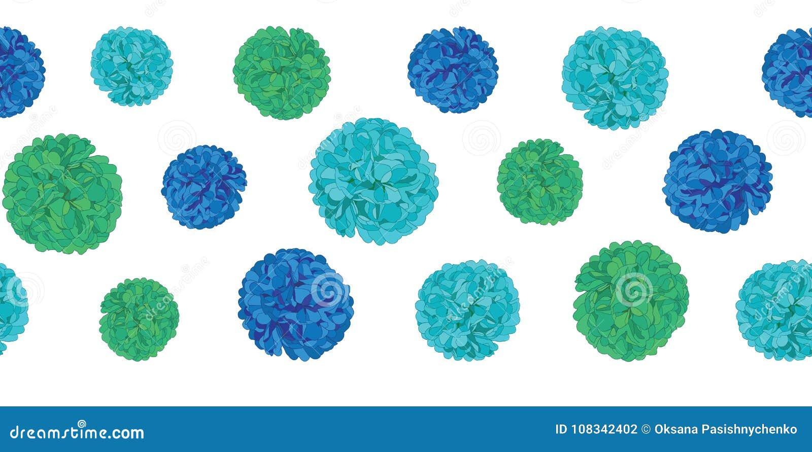Wektorowy Błękitny przyjęcie urodzinowe papieru Pom Poms powtórki granicy Ustalony Horyzontalny Bezszwowy wzór Wielki dla handmad
