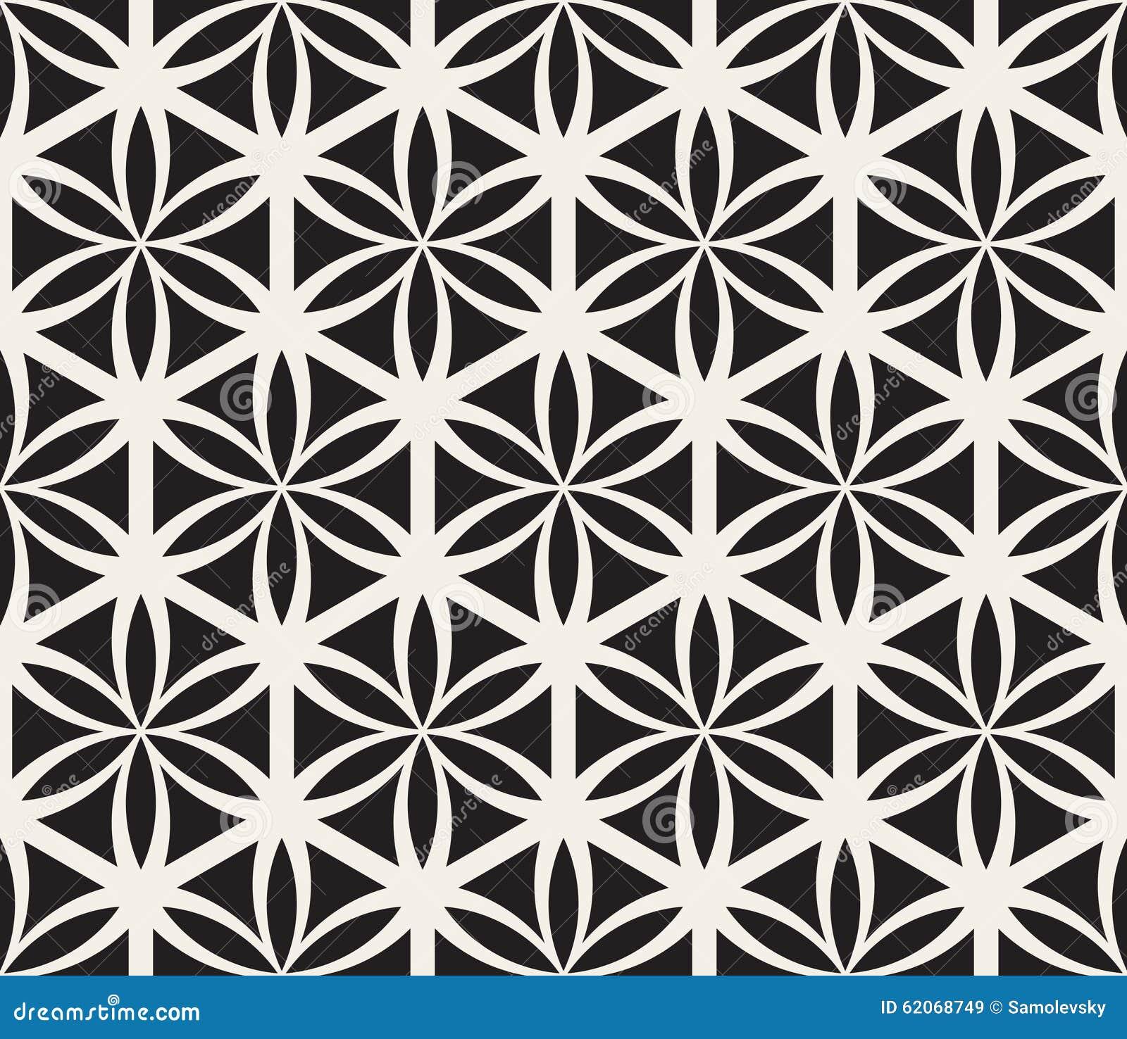 Wektorowy Bezszwowy Czarny I Biały kwiat życie geometrii okręgu Święty wzór