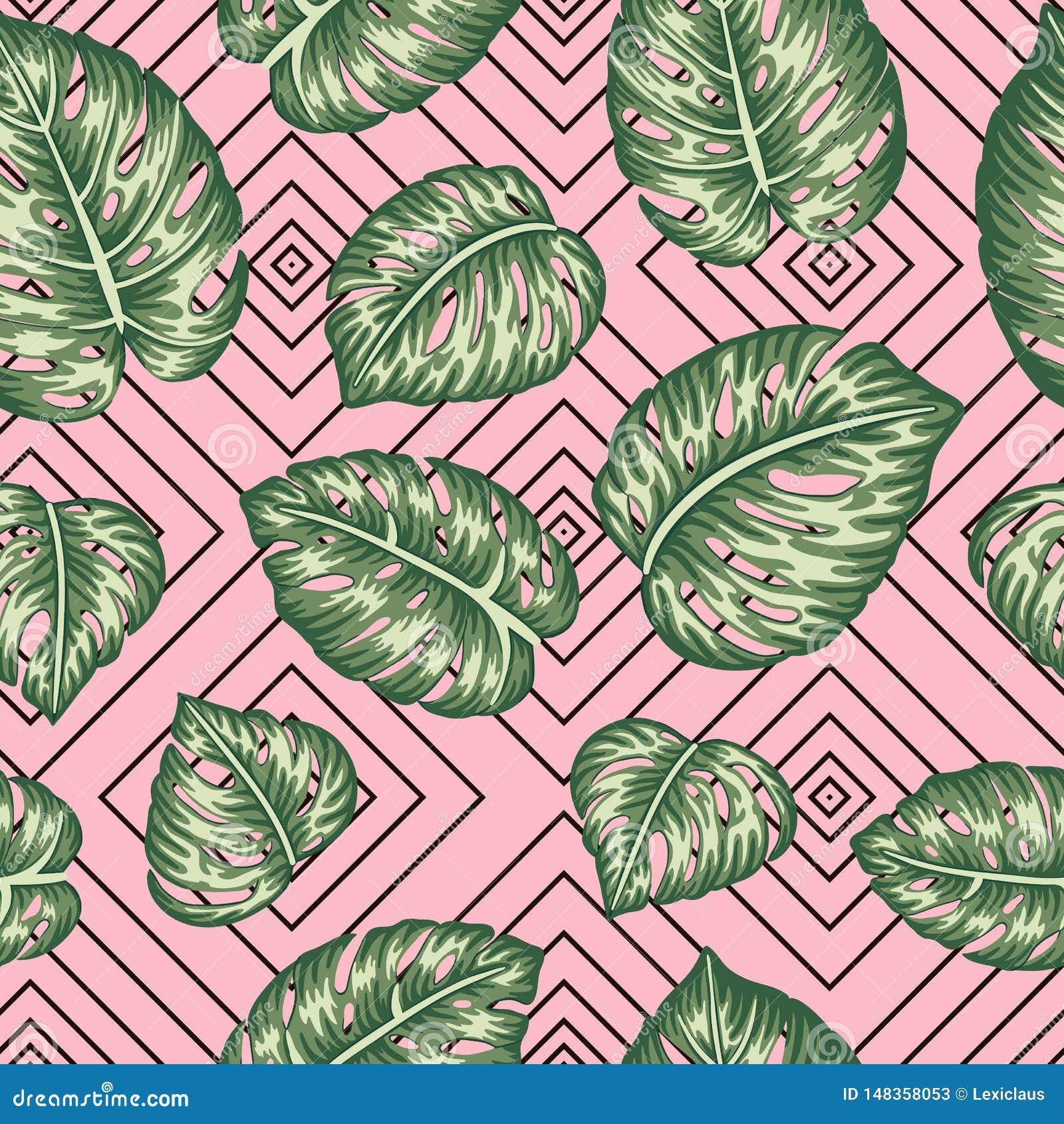 Wektorowy bezszwowy geometryczny wzór z zielonym monstera opuszcza na różowym tle