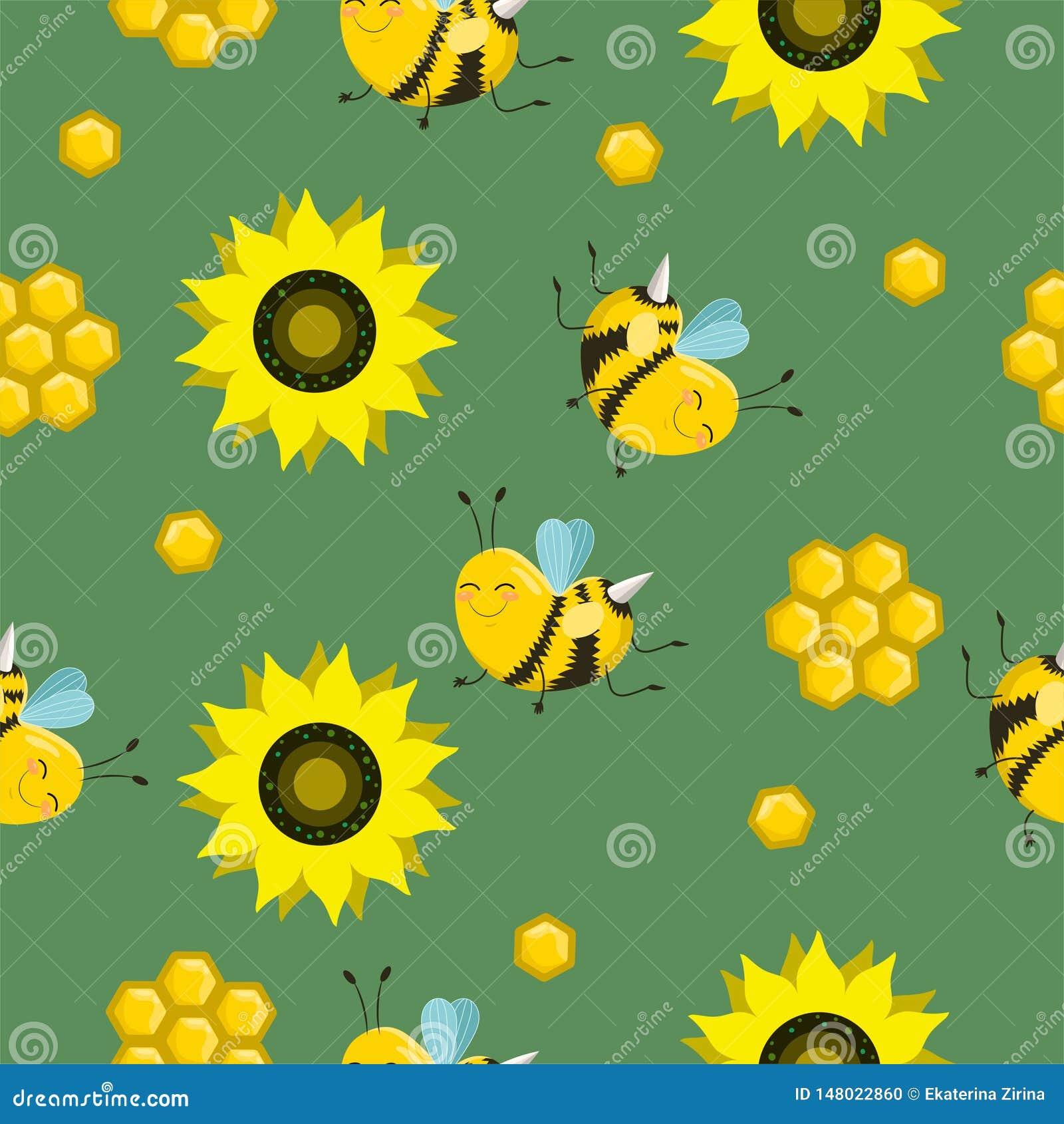 Wektorowy Bezszwowy koloru wz?r Lato sk?ad z honeycombs, pszczo?y, kwiaty U?ywa mnie jako deseniowe pe?nie, strony internetowej t