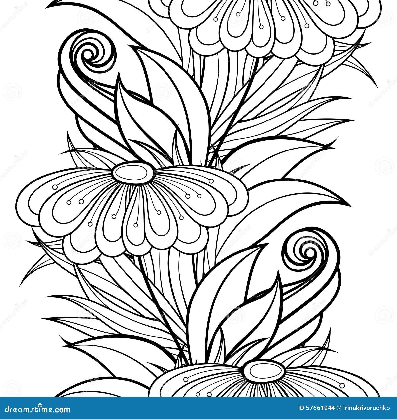 Wektorowy Bezszwowy Monochromatyczny Kwiecisty wzór