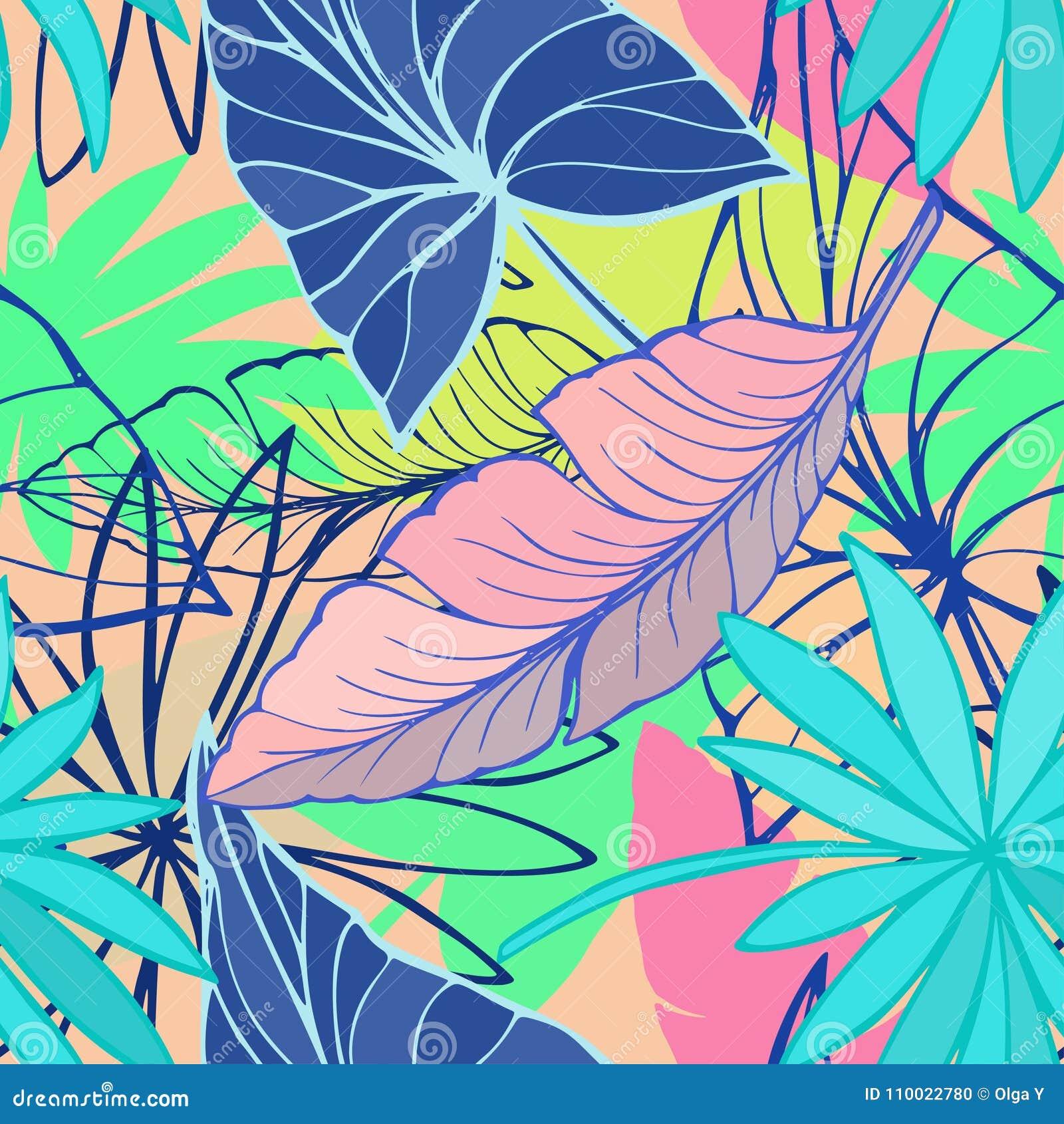 Wektorowy bezszwowy piękny artystyczny jaskrawy tropikalny wzór z bananem, Syngonium i Dracaena, leaf, lato plażowa zabawa