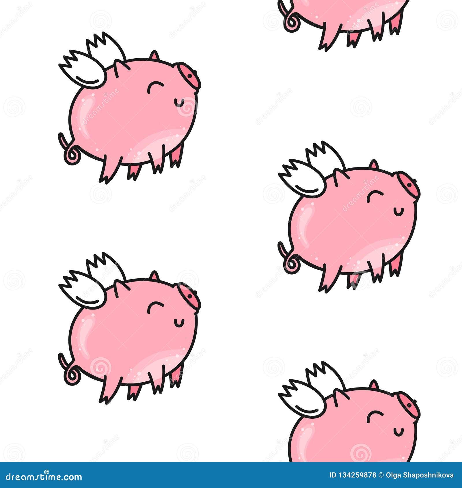 Wektorowy Bezszwowy wzór dla walentynki ` s dnia świni śliczne menchie Doodle styl, kreskówki tło
