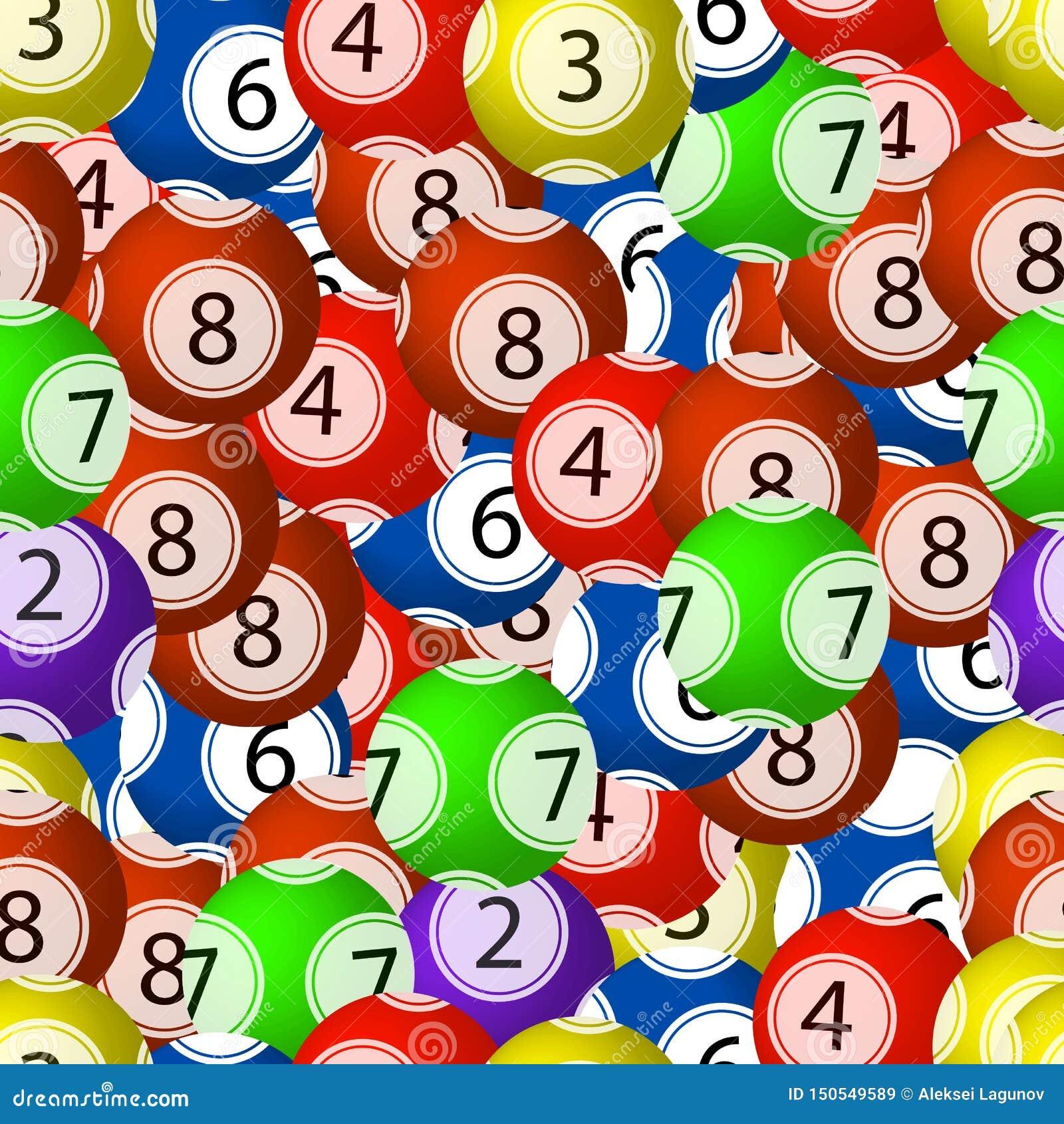 Wektorowy Bezszwowy wzór, Loteryjne piłki, Chaotyczni Kolorowi elementy Backgroun, Jaskrawi kolory