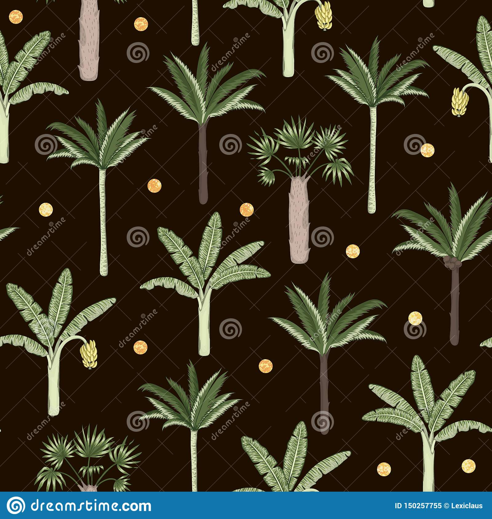 Wektorowy bezszwowy wzór palmowi i bananowi drzewa z złotymi confetti na czarnym tle