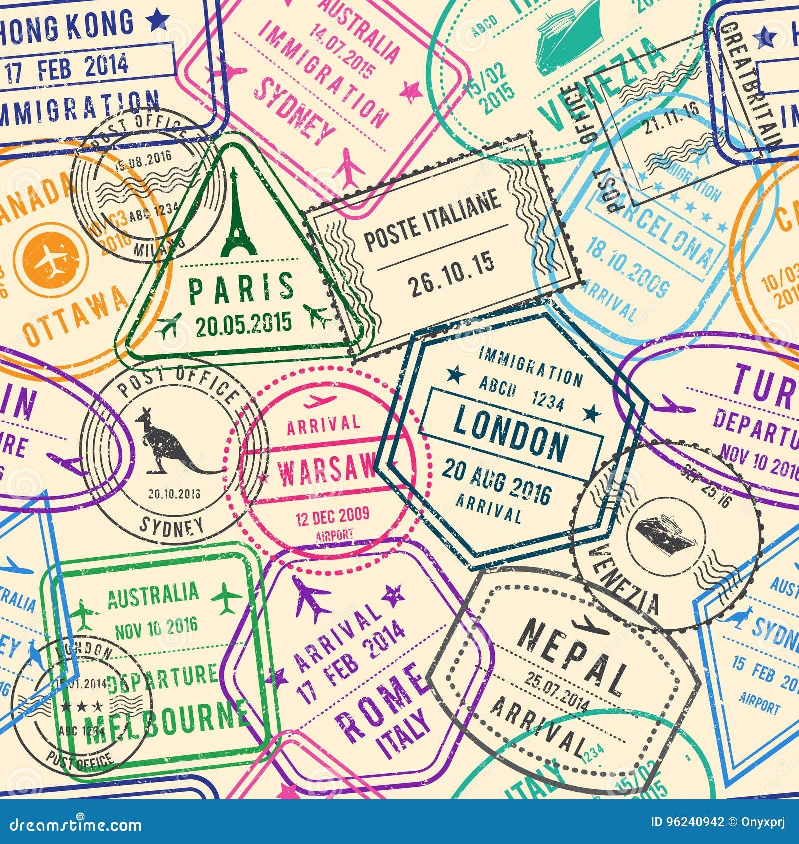 Wektorowy bezszwowy wzór podróży ilustracje z znaczkami, wizą i różnymi dokumentami dla podróżować,