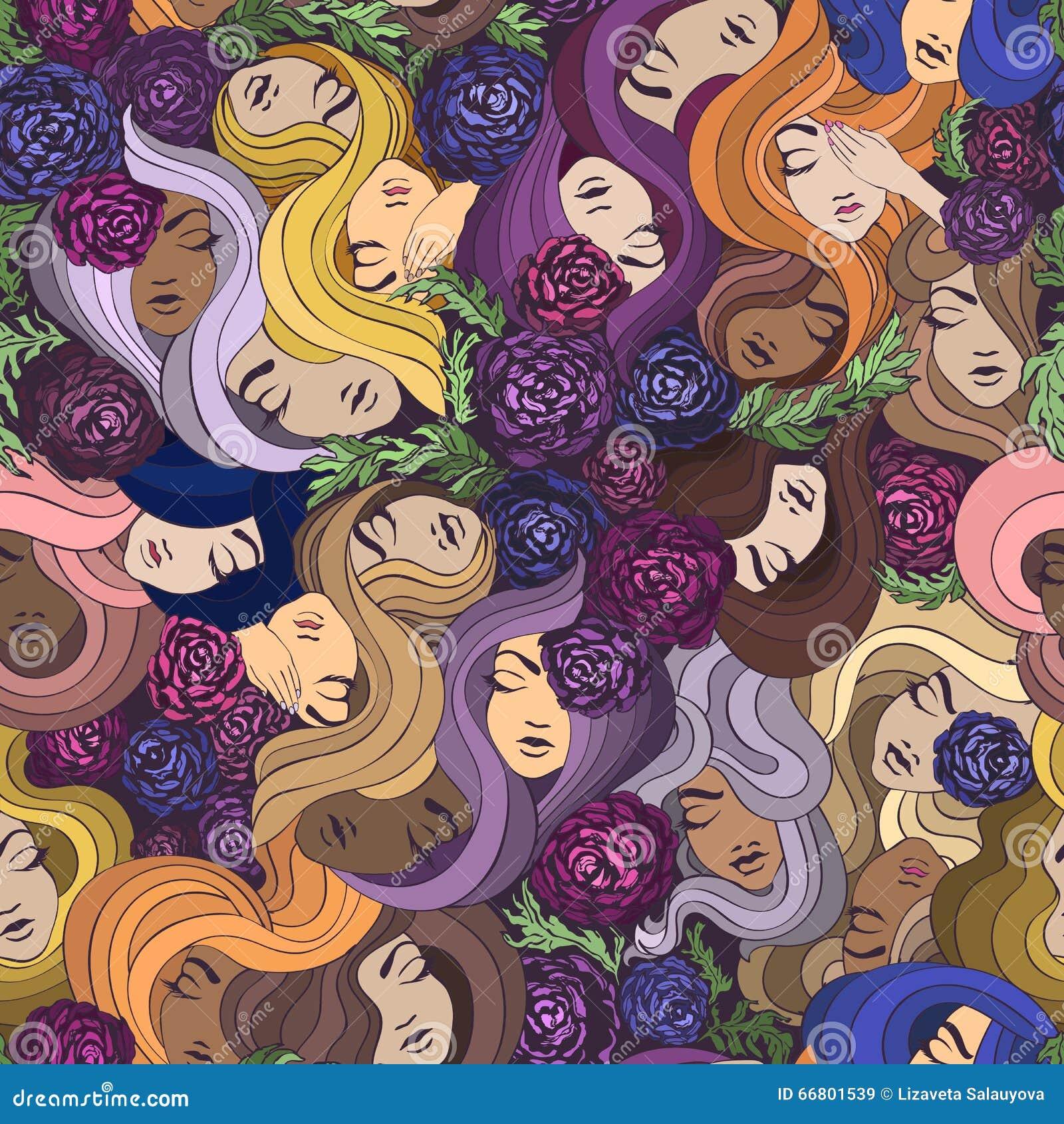 Wektorowy bezszwowy wzór z ładnymi kobietami, kwiatami i włosy,