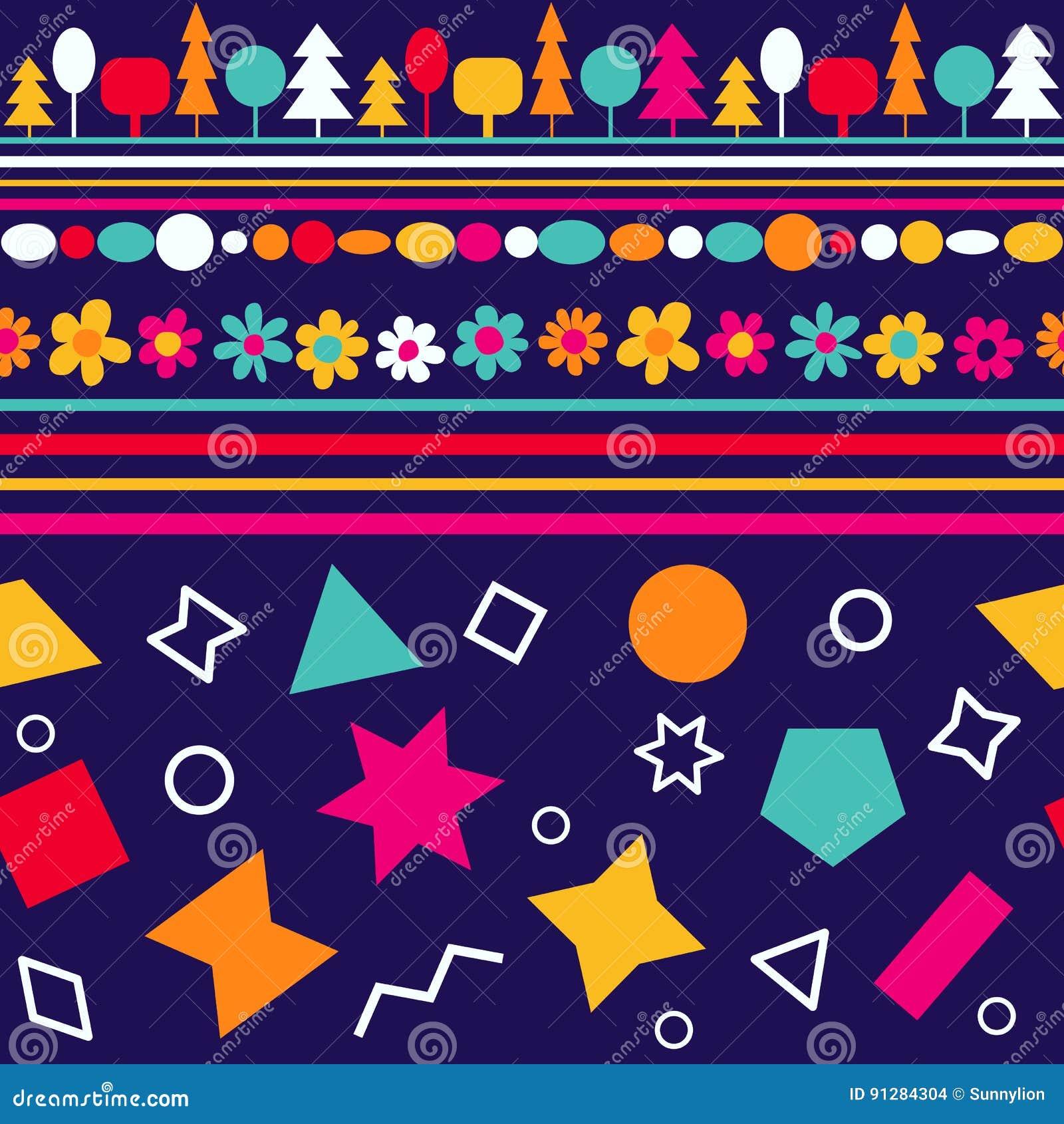 Wektorowy bezszwowy wzór z dekoracyjnymi kwiatami i geometrycznymi postaciami Kolorowa dziecko tapeta