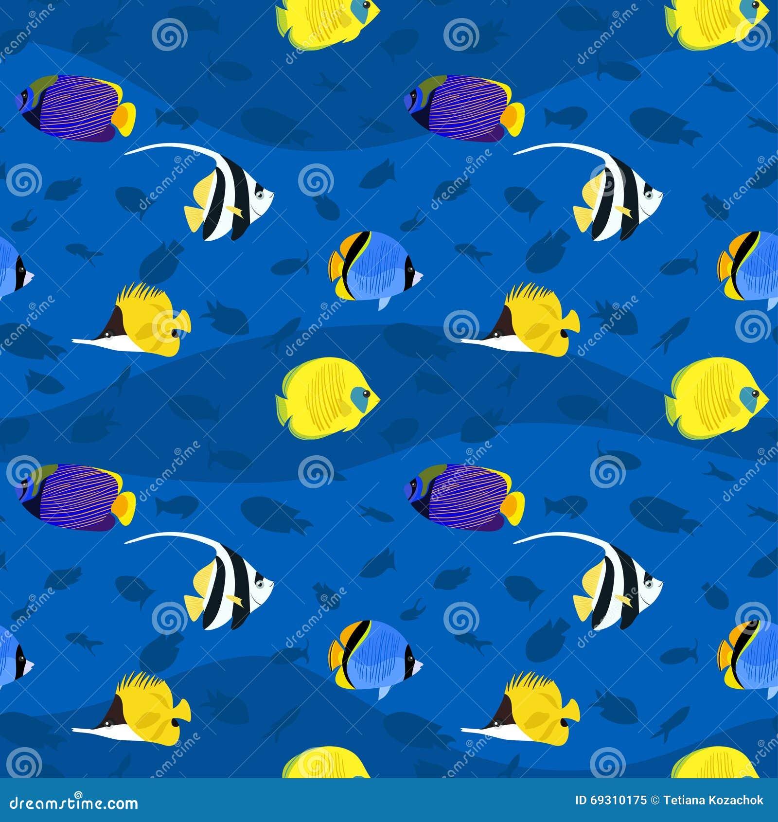 Wektorowy bezszwowy wzór z egzotycznymi kolorowymi dennymi ryba inside