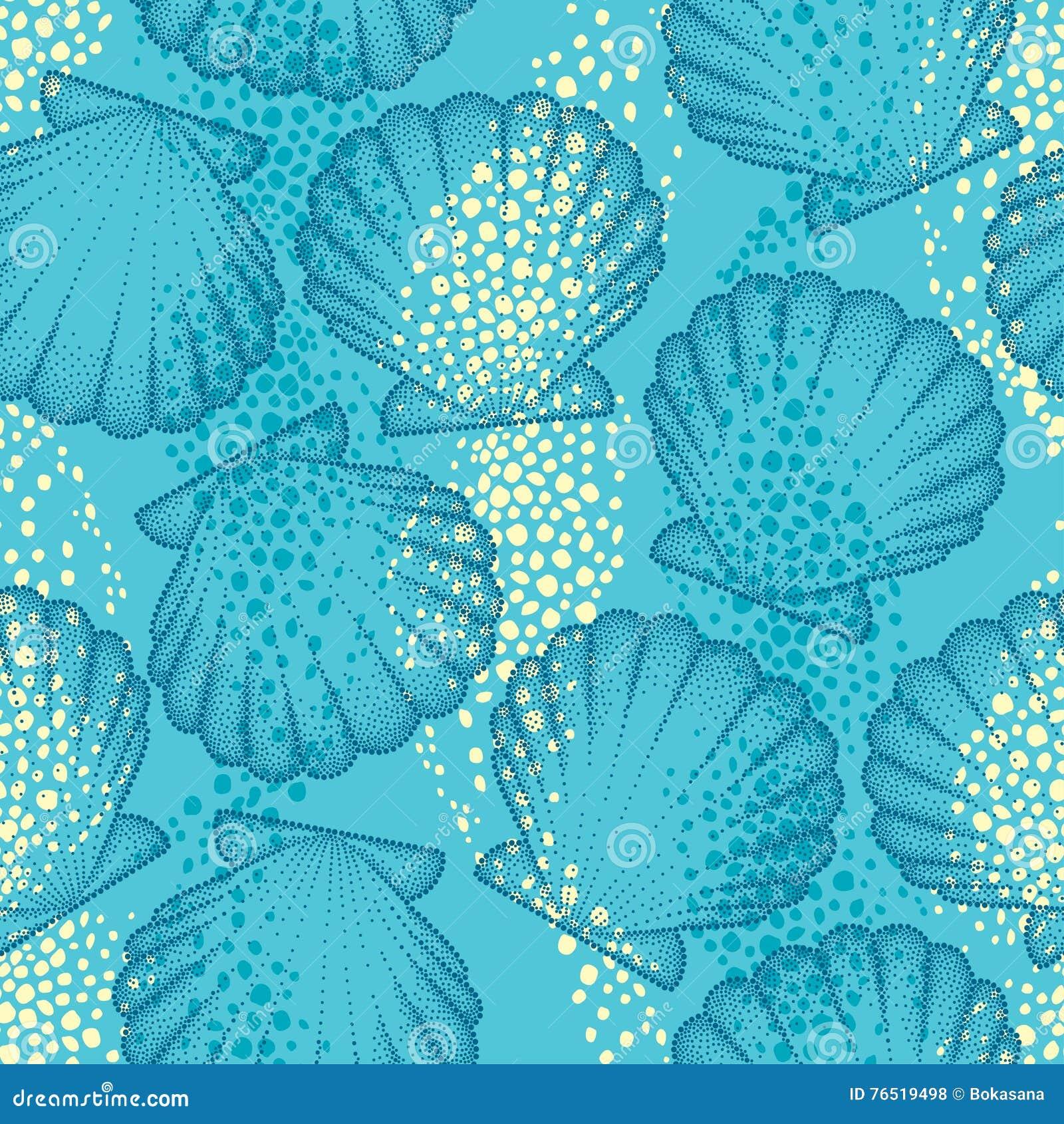 Wektorowy bezszwowy wzór z kropkowaną Denną skorupą lub przegrzebkiem na błękitnym tle maritimer Morski i nadwodny temat