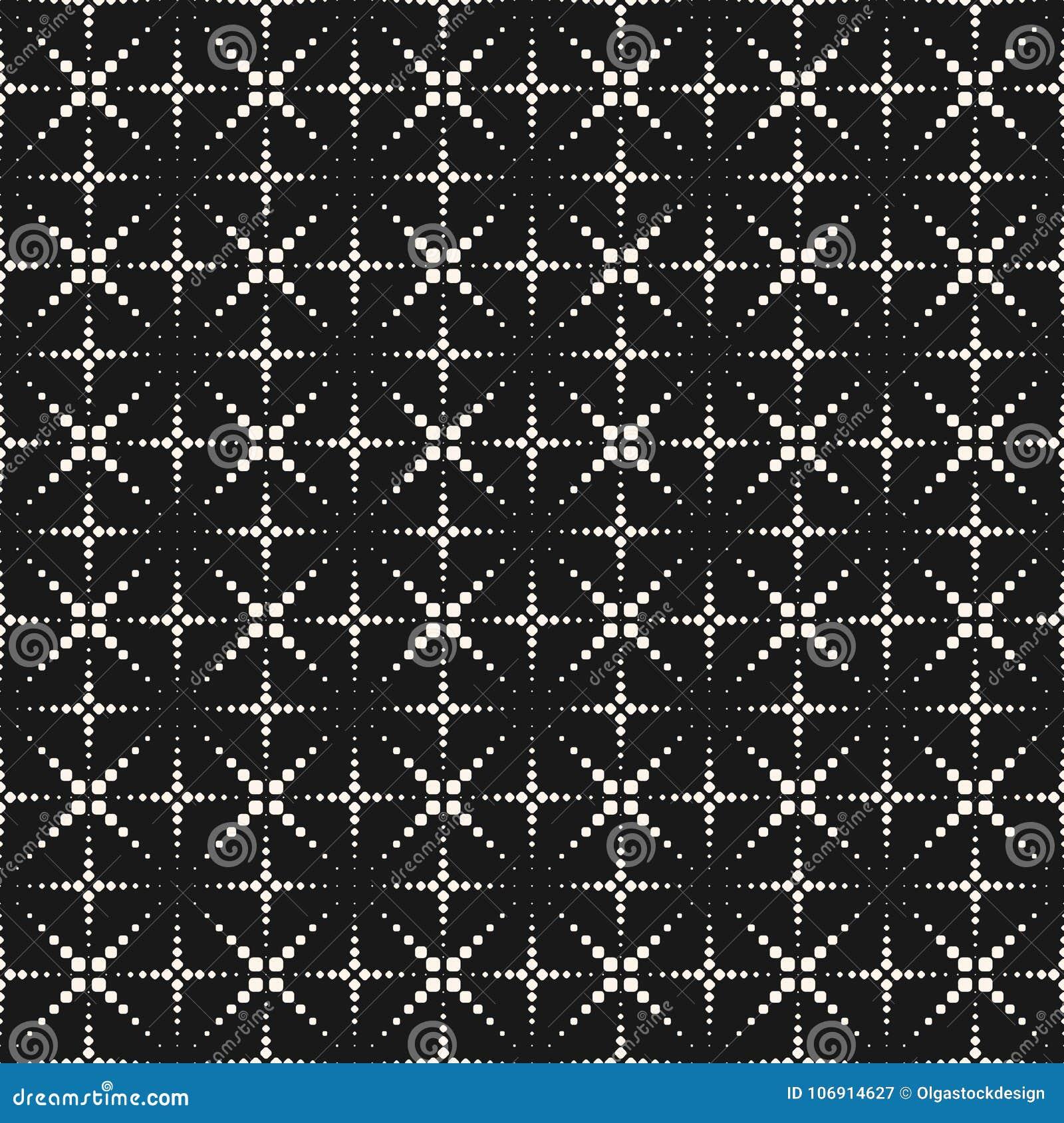 Wektorowy bezszwowy wzór z kropkowanymi krzyżami, błyski,