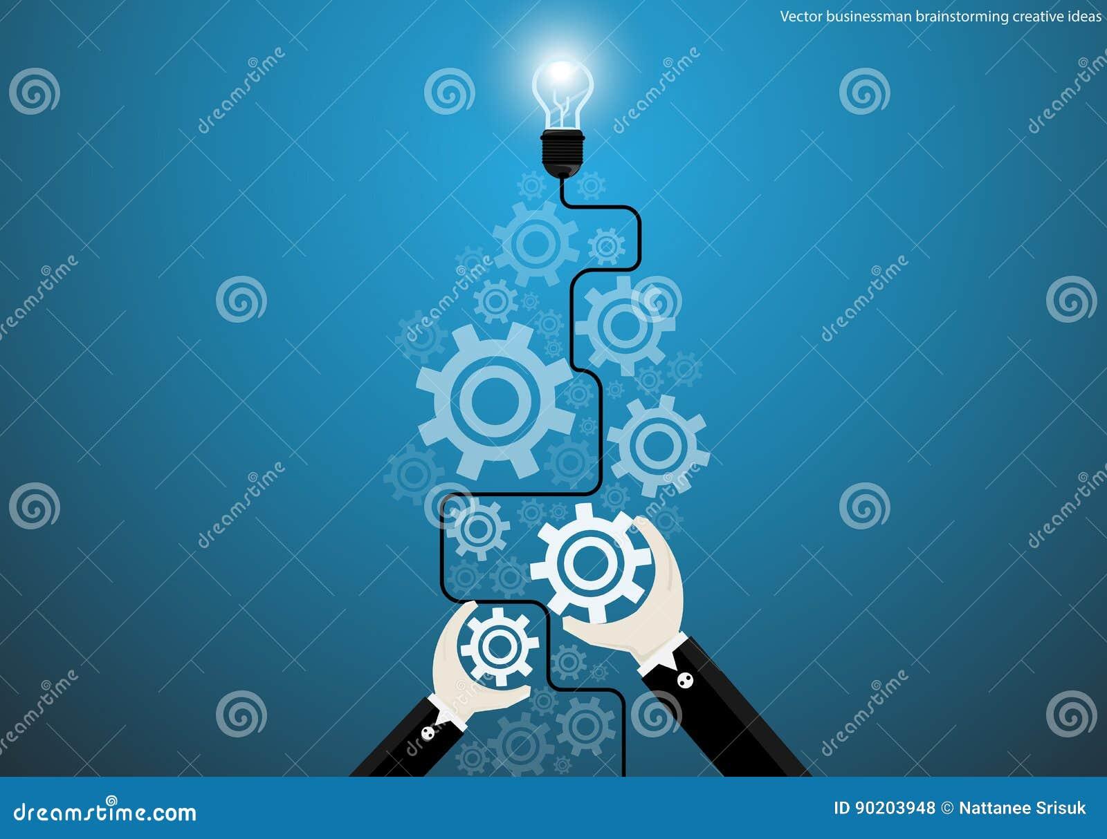 Wektorowy biznesmen brainstorming kreatywnie pomysły z żarówek móżdżkowych cogs płaskim projektem