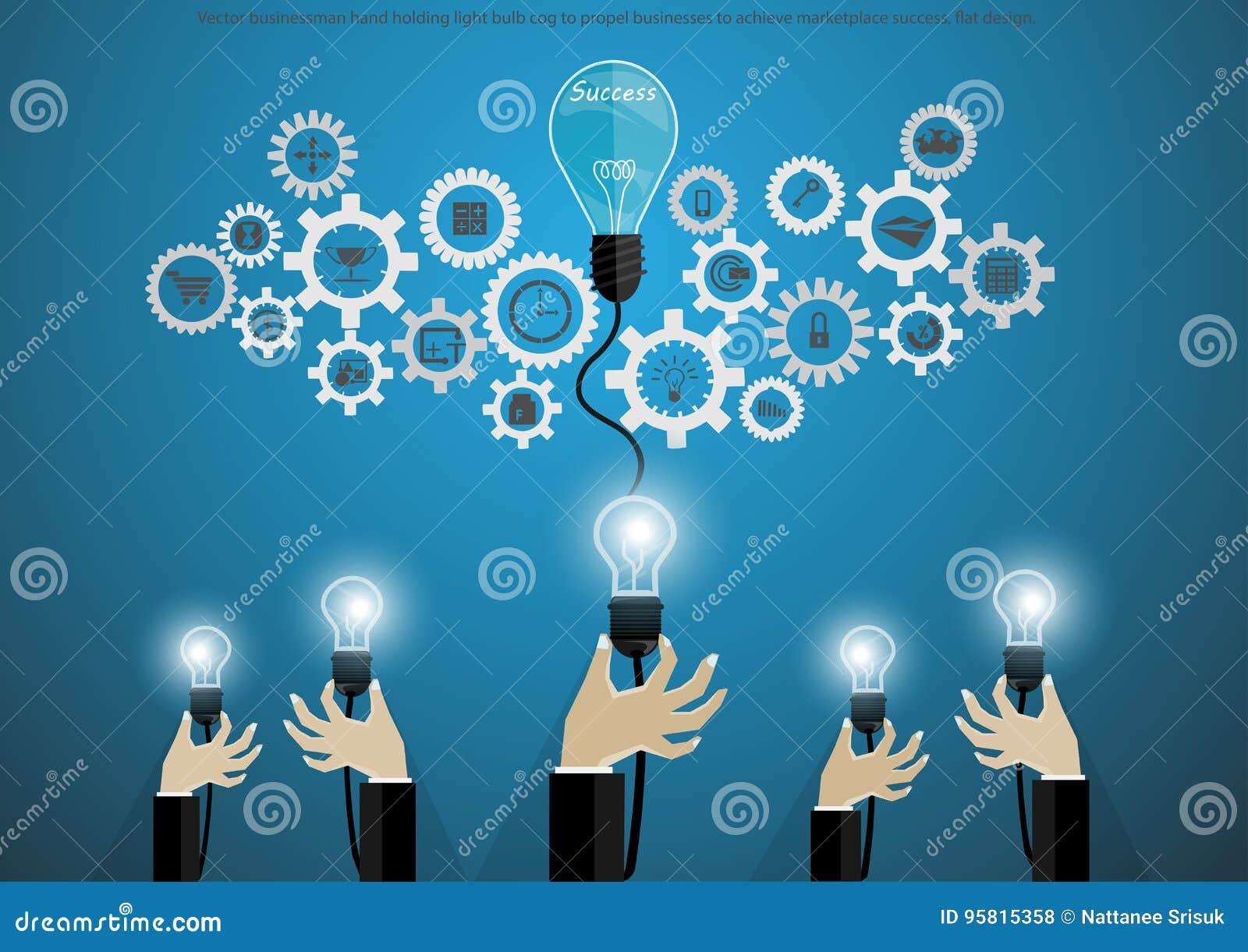 Wektorowy biznesmen ręki mienia żarówki cog napędzać biznesy dokonywać rynku sukces, płaski projekt