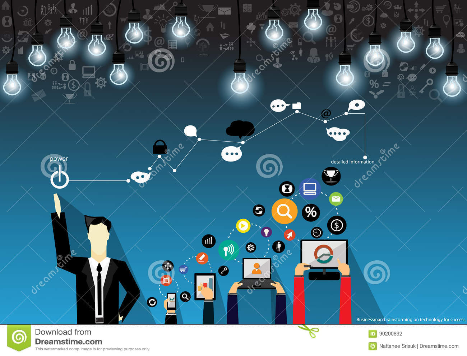Wektorowy biznesmena brainstorming na technologii dla sukcesu z wiszącą ozdobą, pastylką, notebookami i różnorodnych ikon płaskim