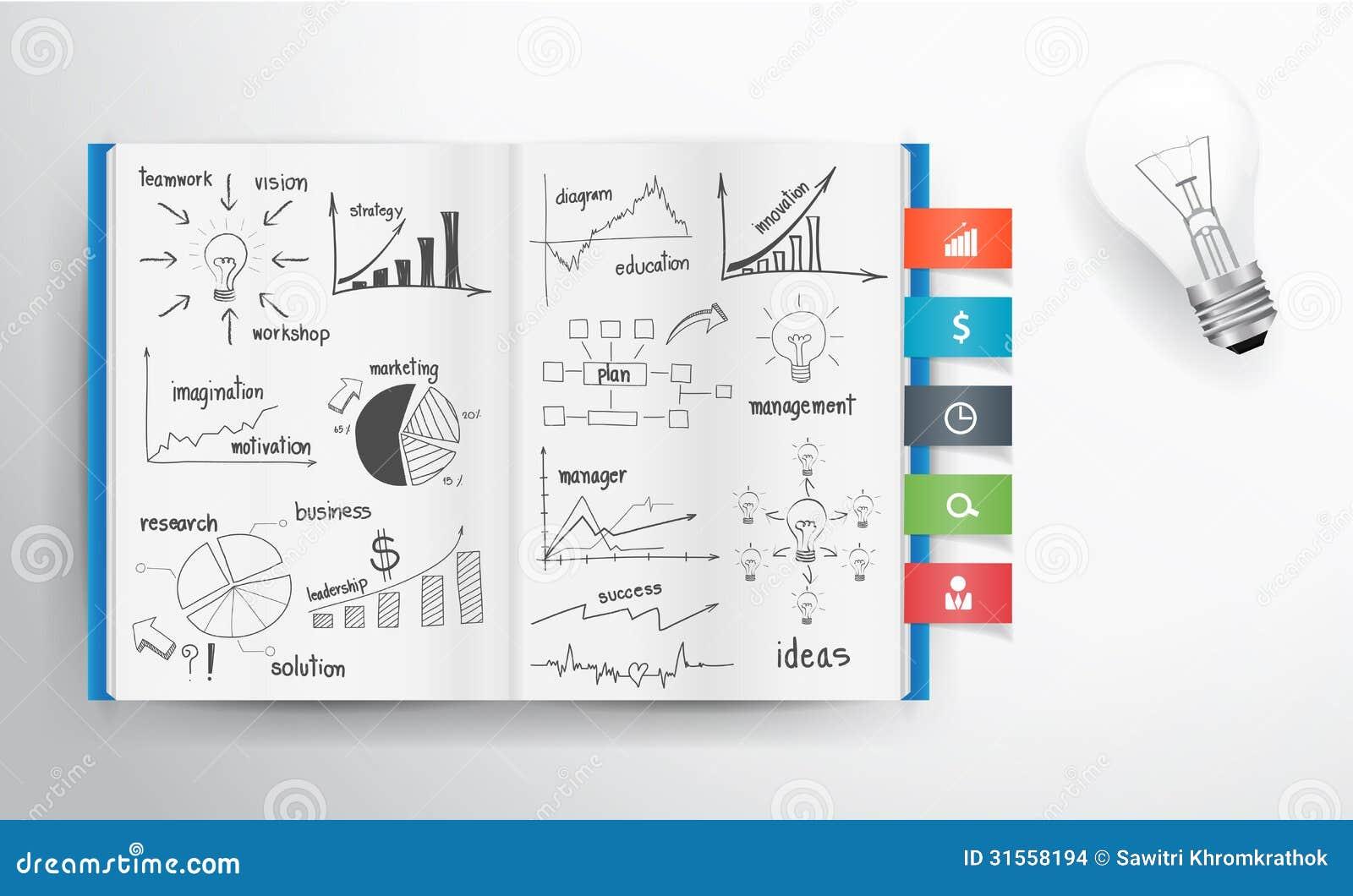 Wektorowy biznesowy pojęcia i wykresu rysunek na książce