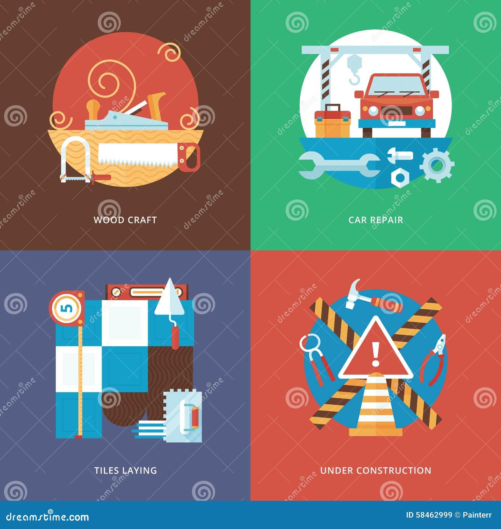 Wektorowy buduje rzemiosło, usługa i dekoracja ustawiający dla, sieć projekta i wiszących ozdób apps