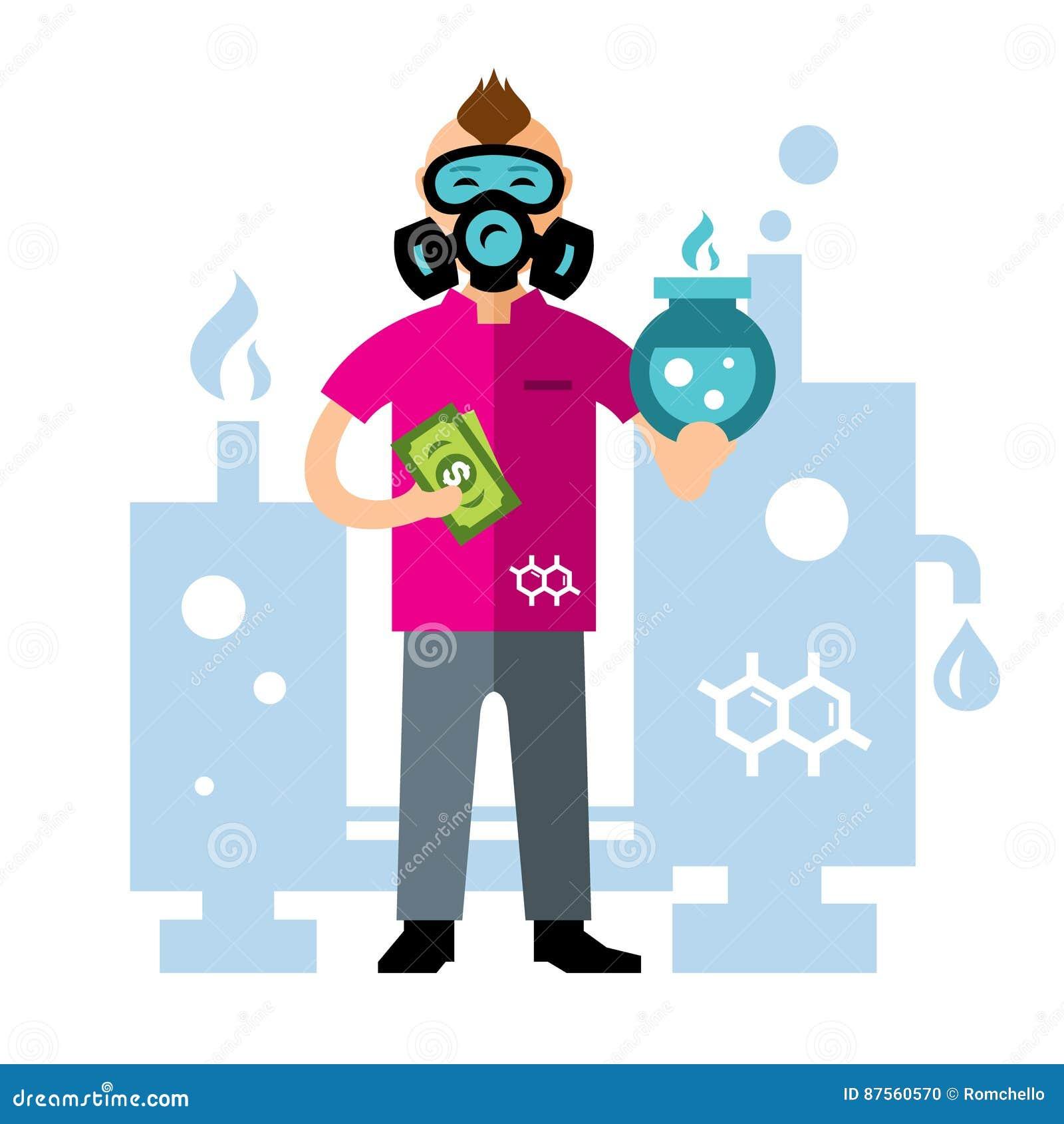 Wektorowy Chemiczny laboratorium Mieszkanie kreskówki stylowa kolorowa ilustracja