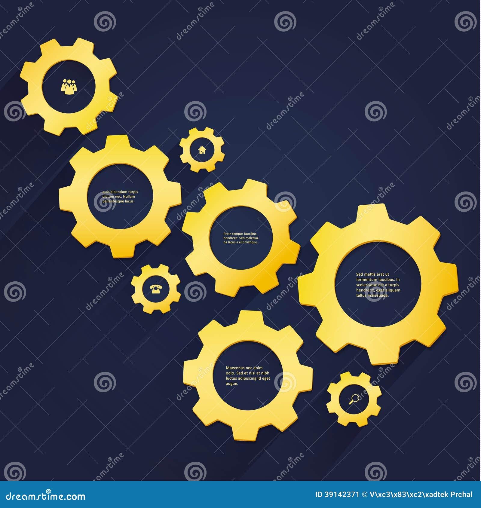 Wektorowy cogwheel szablon - luksusowi złociści cogs. Cogwheel związek