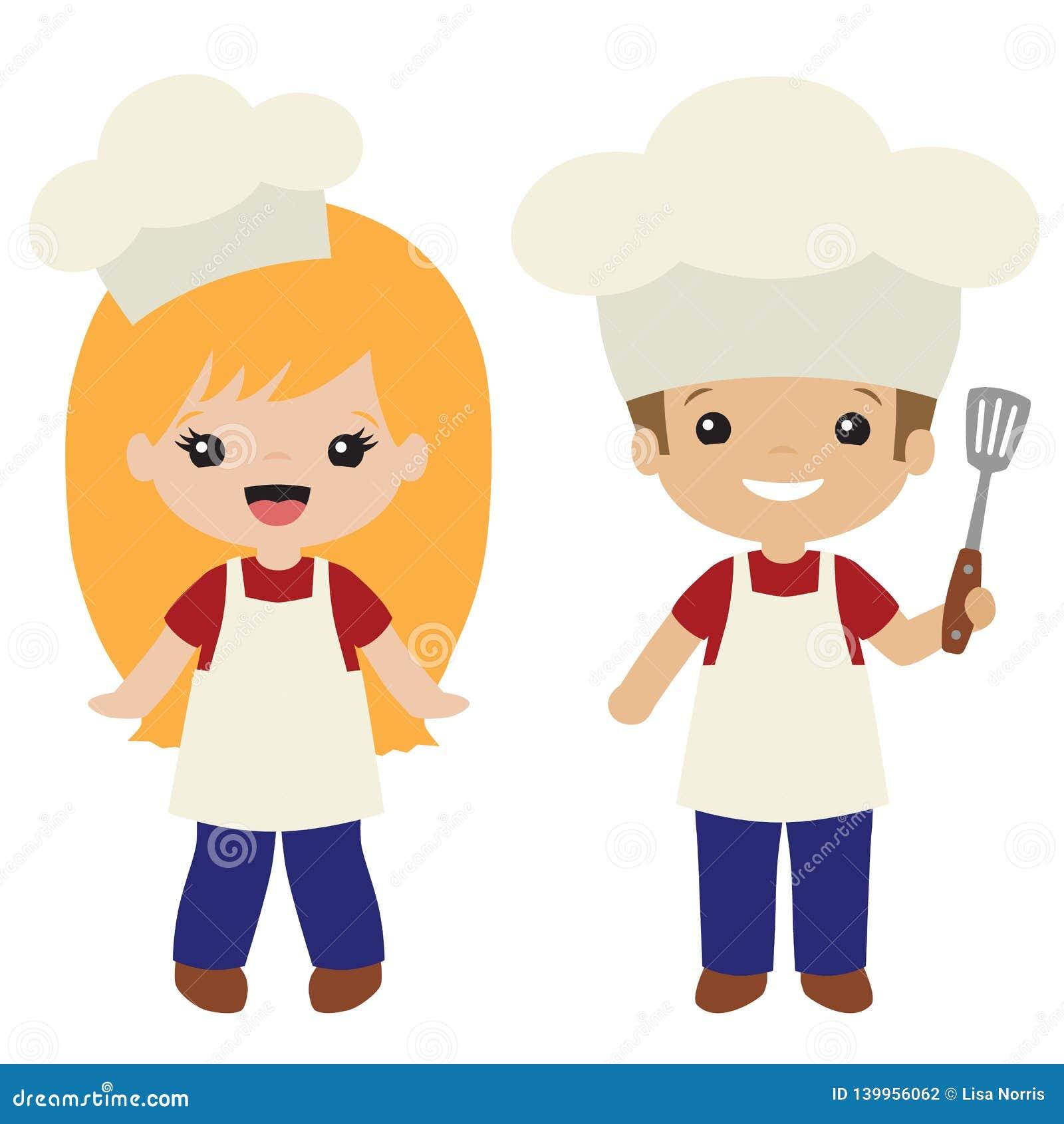 Wektorowy Cookout grill Gotuje chłopiec i dziewczyny ilustracje
