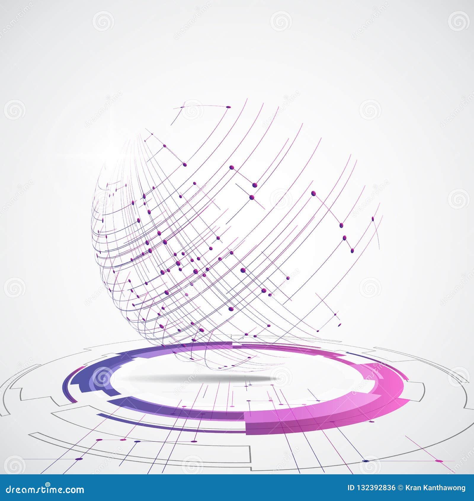 Wektorowy cyfrowy globalny technologii pojęcie, abstrakcjonistyczna tło ilustracja