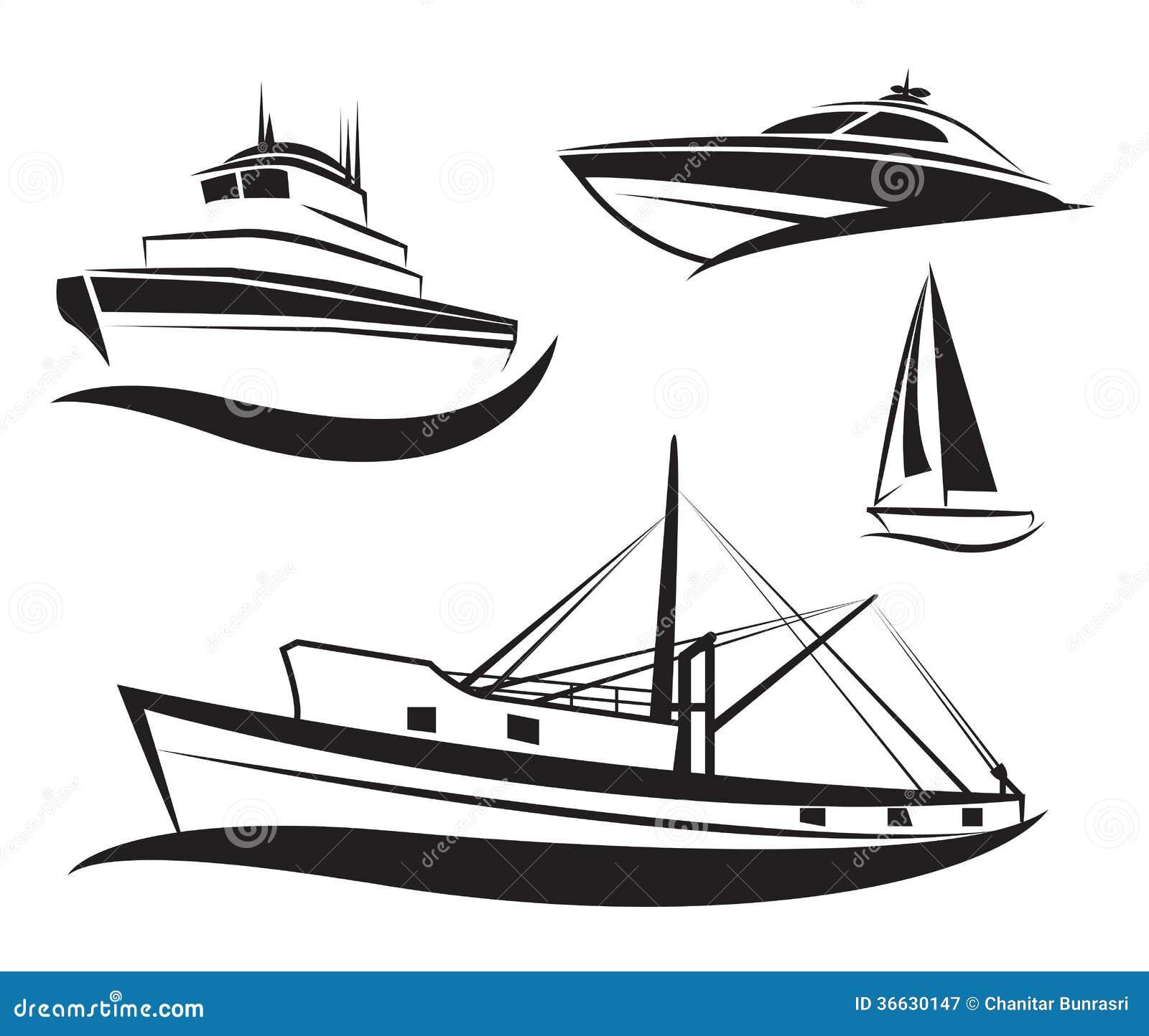 Wektorowy czarny statku i łodzi set.