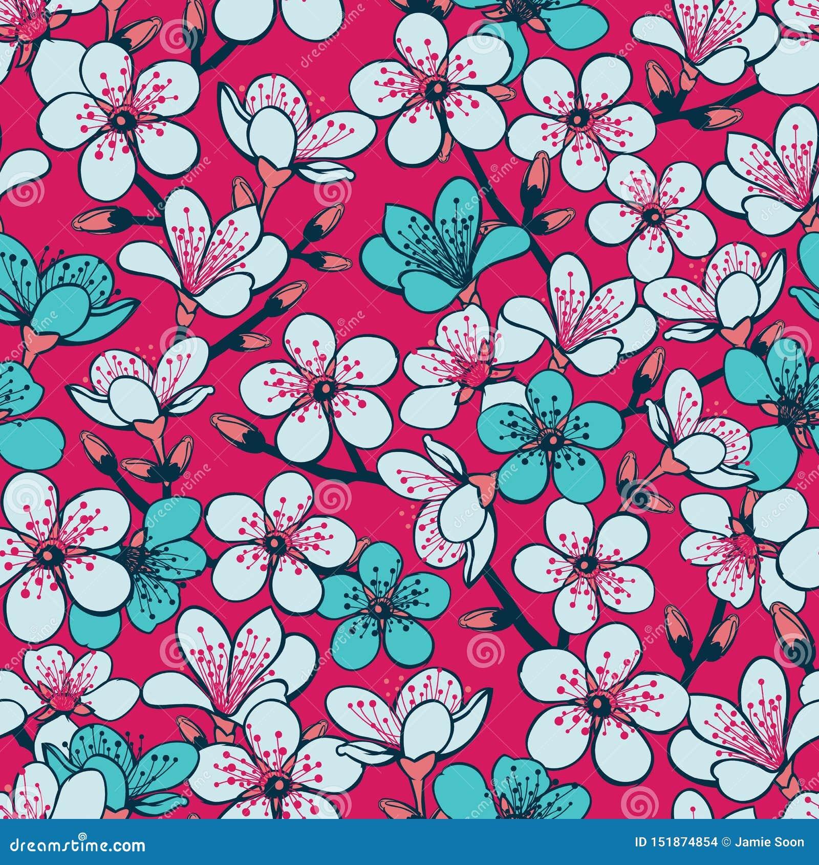 Wektorowy czerwony tło z jasnopopielatym i cyan czereśniowym okwitnięciem Sakura kwitnie i zmrok - błękitnych trzonów bezszwowy d