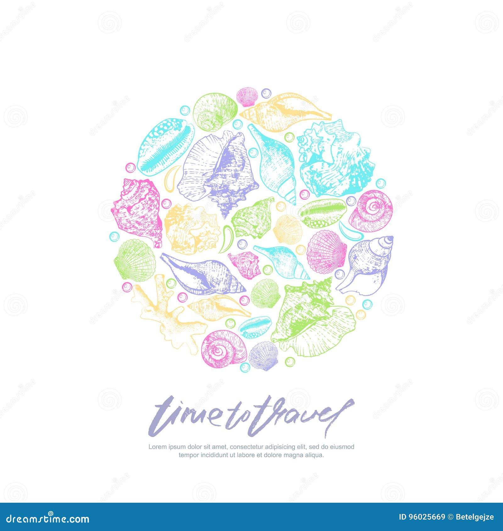 Wektorowy druku projekta szablon z multicolor kaligrafii literowaniem i seashells szczotkarski węgiel drzewny rysunek rysujący rę