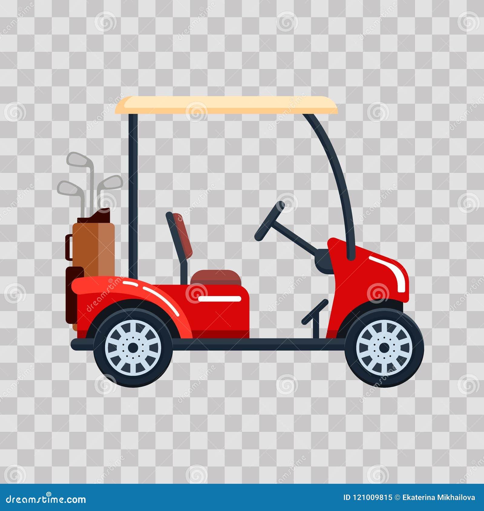 Wektorowy elektryczny golfowy samochód z kij golfowy torbą Transport, vehile na przejrzystym tle