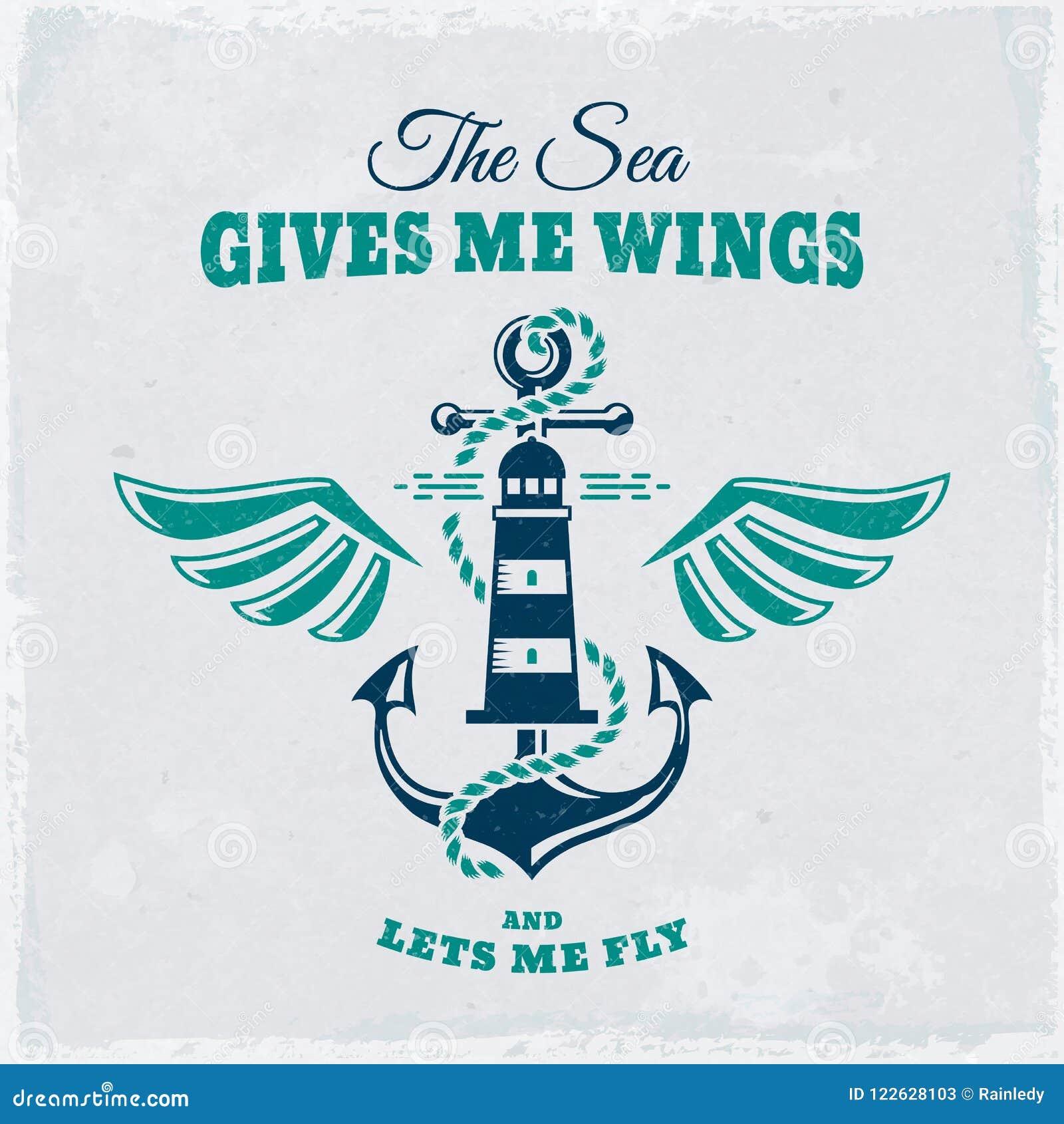 Wektorowy emblemat z kotwicą i latarnią morską Nautyczna ilustracja